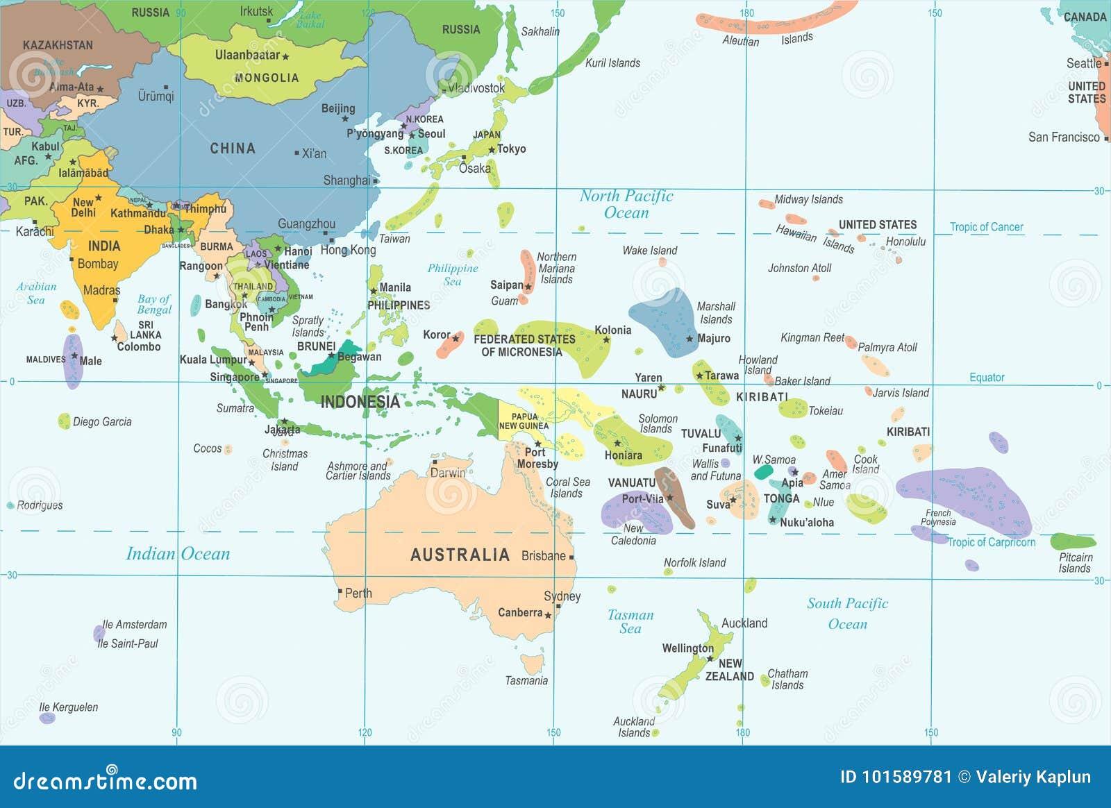 Carte De Lasie Et Oceanie.Carte De L Asie De L Est Et D Oceanie Illustration De