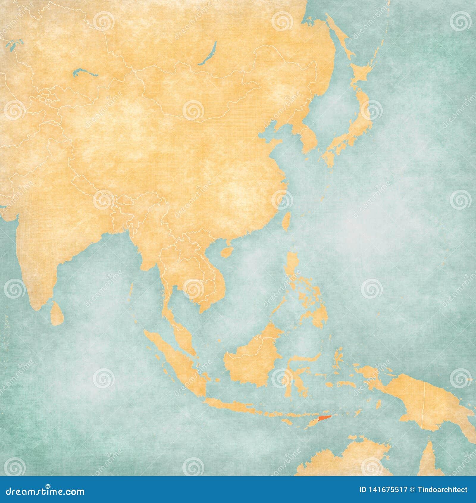 Carte de l Asie de l Est - le Timor oriental