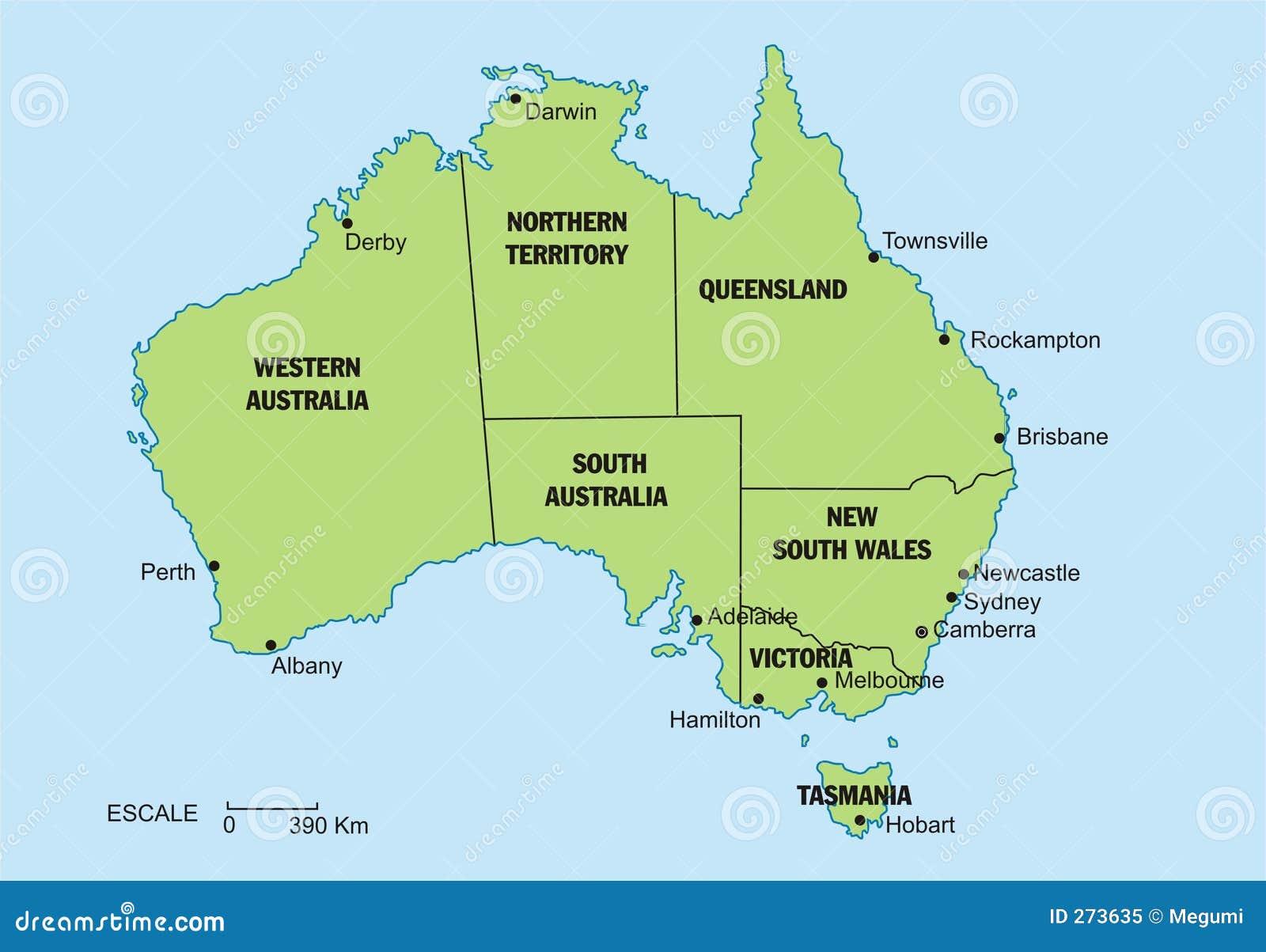 Carte Australie Principales Villes.Carte De L Australie Illustration Stock Illustration Du