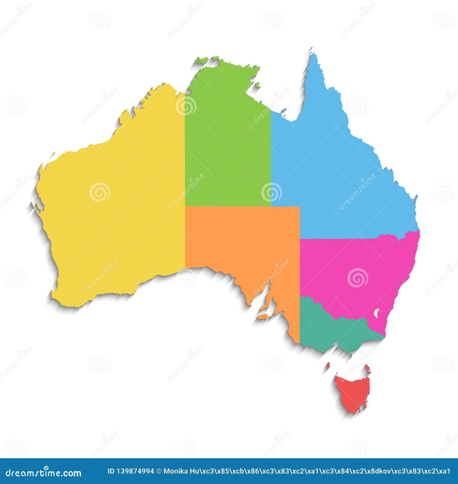 Carte de l Australie, nouvelle carte détaillée politique, différents états distincts, avec des noms d état, d isolement sur le bl