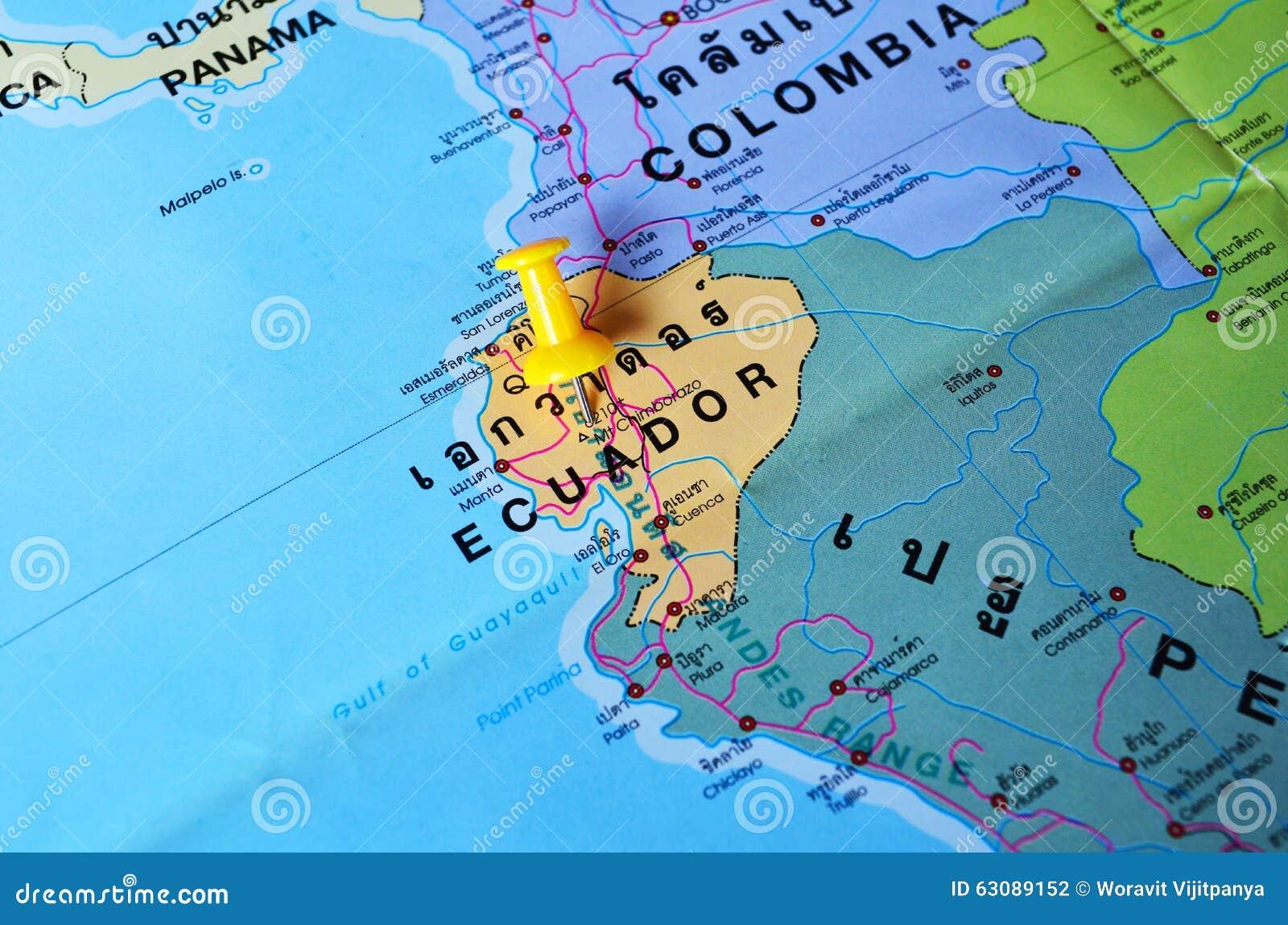 Download Carte de l'Equateur photo stock. Image du colombia, quito - 63089152