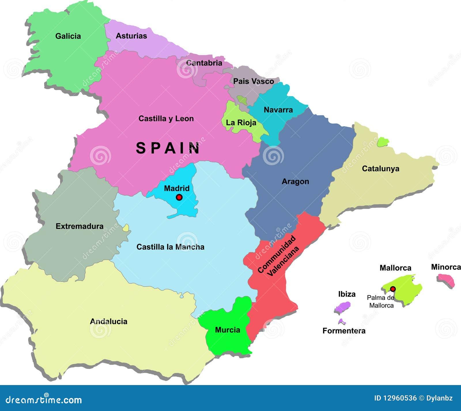 Carte de l'Espagne illustration de vecteur. Illustration du catalonia - 12960536