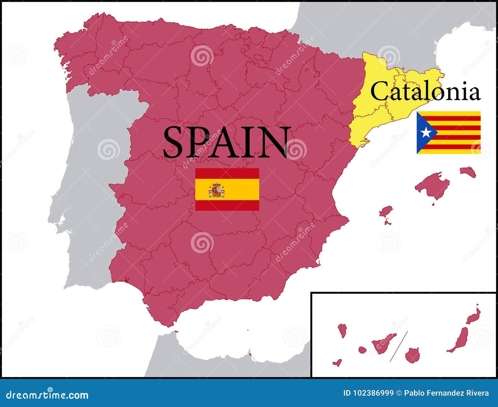 Carte Espagne La Catalogne.Carte De L Espagne Avec La Catalogne Independante