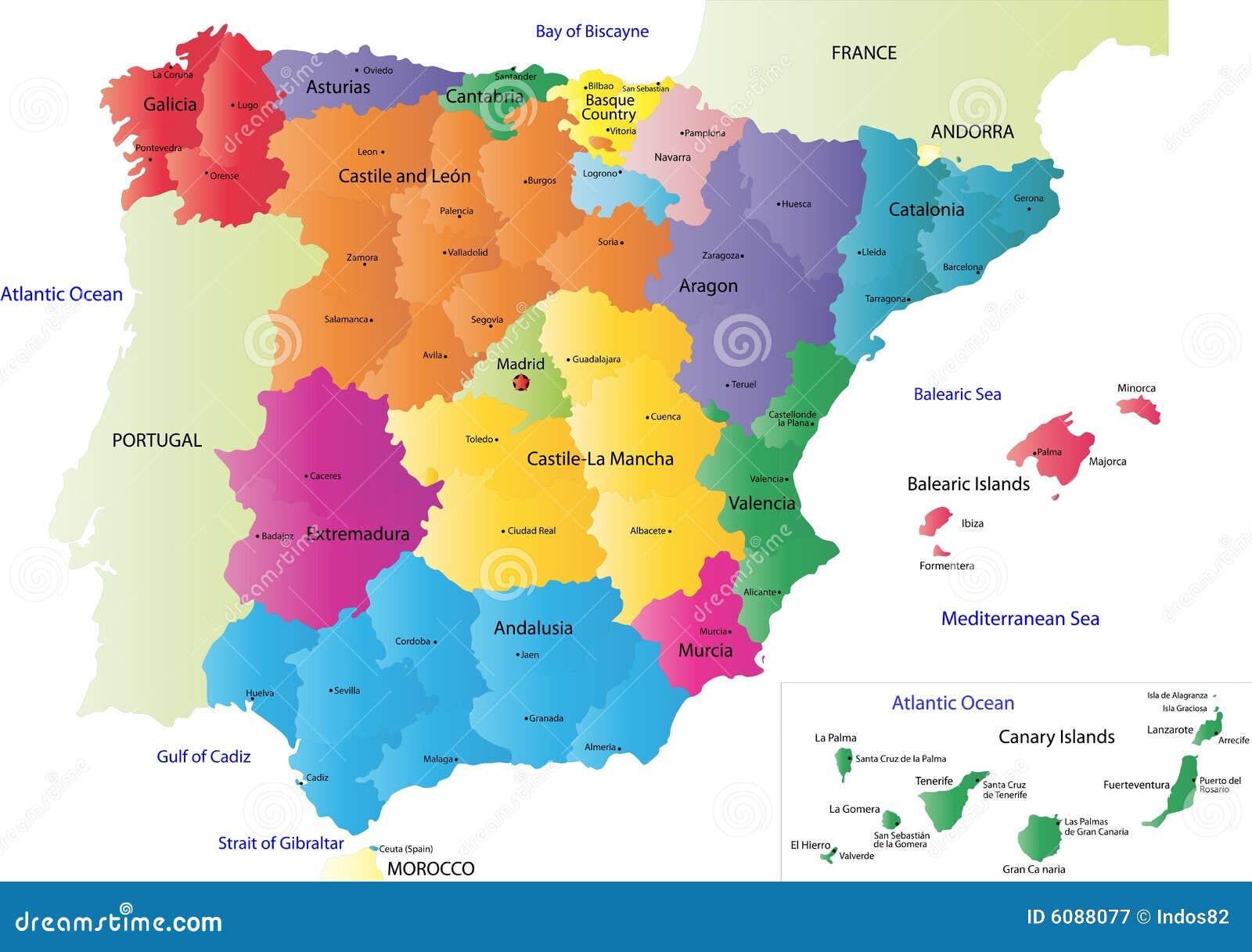 carte de l espagne avec les villes Carte De L'Espagne De Vecteur Illustration de Vecteur