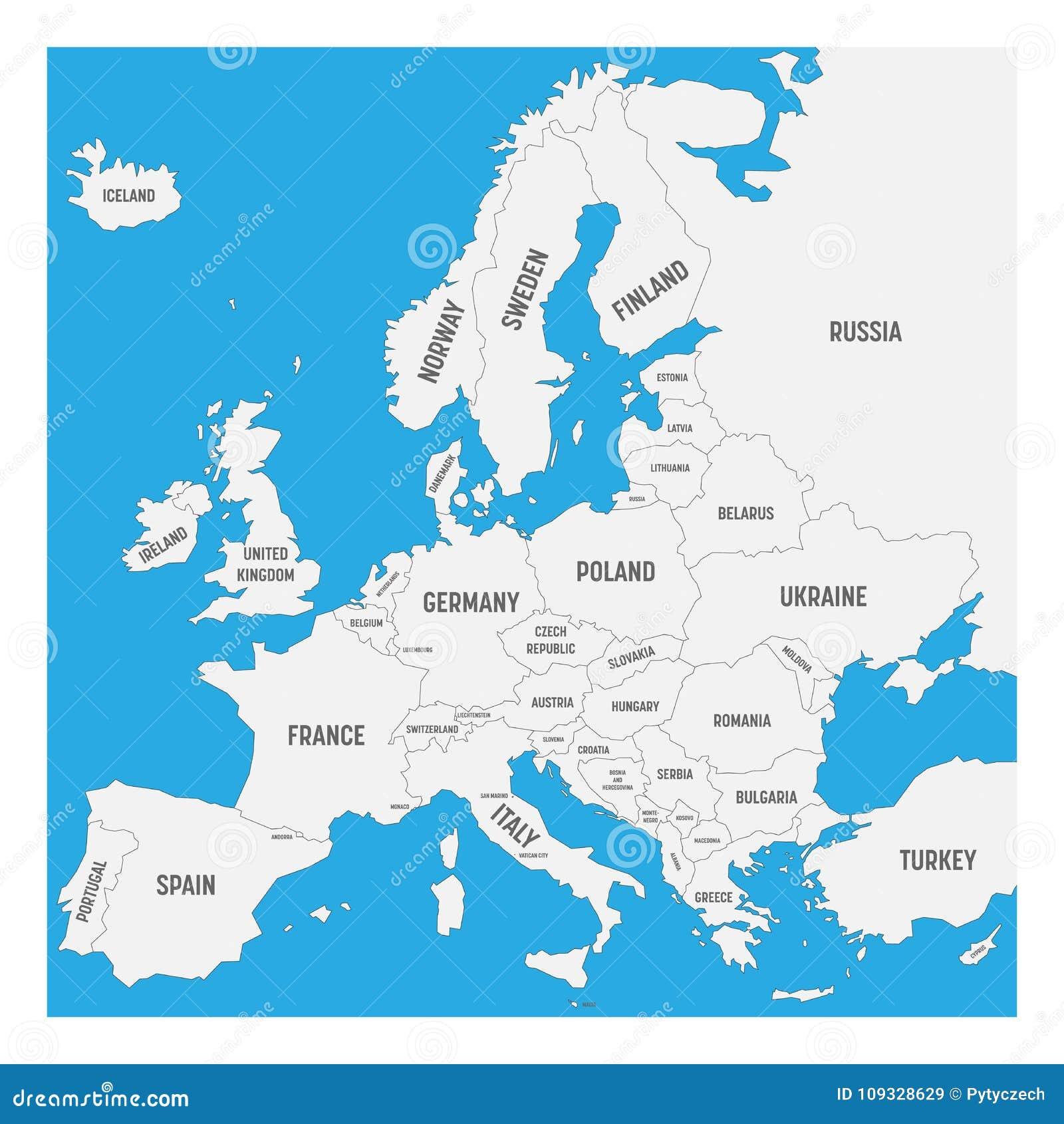 Carte De Leurope Avec Des Noms Des Pays Souverains Petits