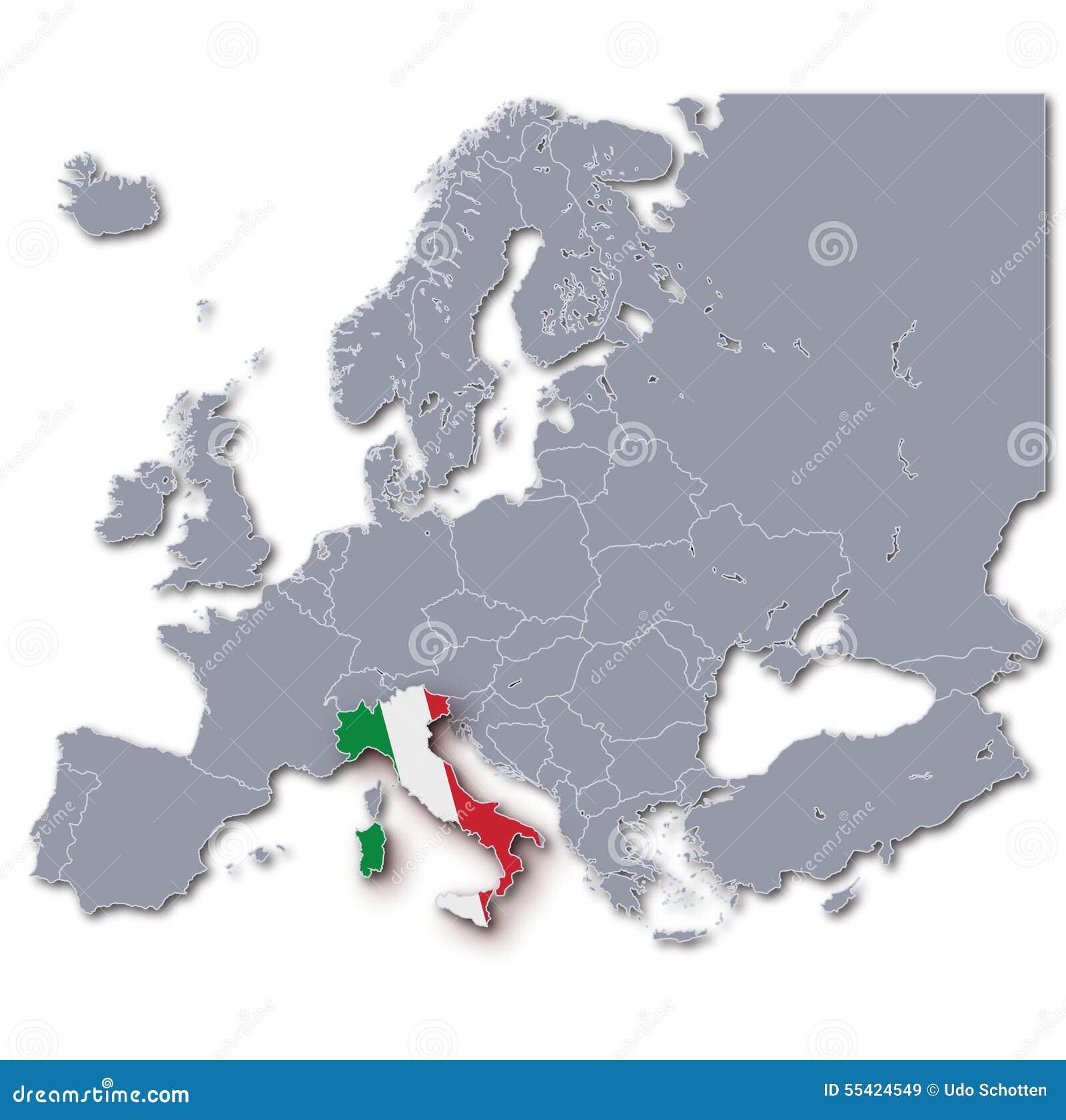 Carte De L'Europe Avec L'Italie Illustration Stock - Image: 55424549