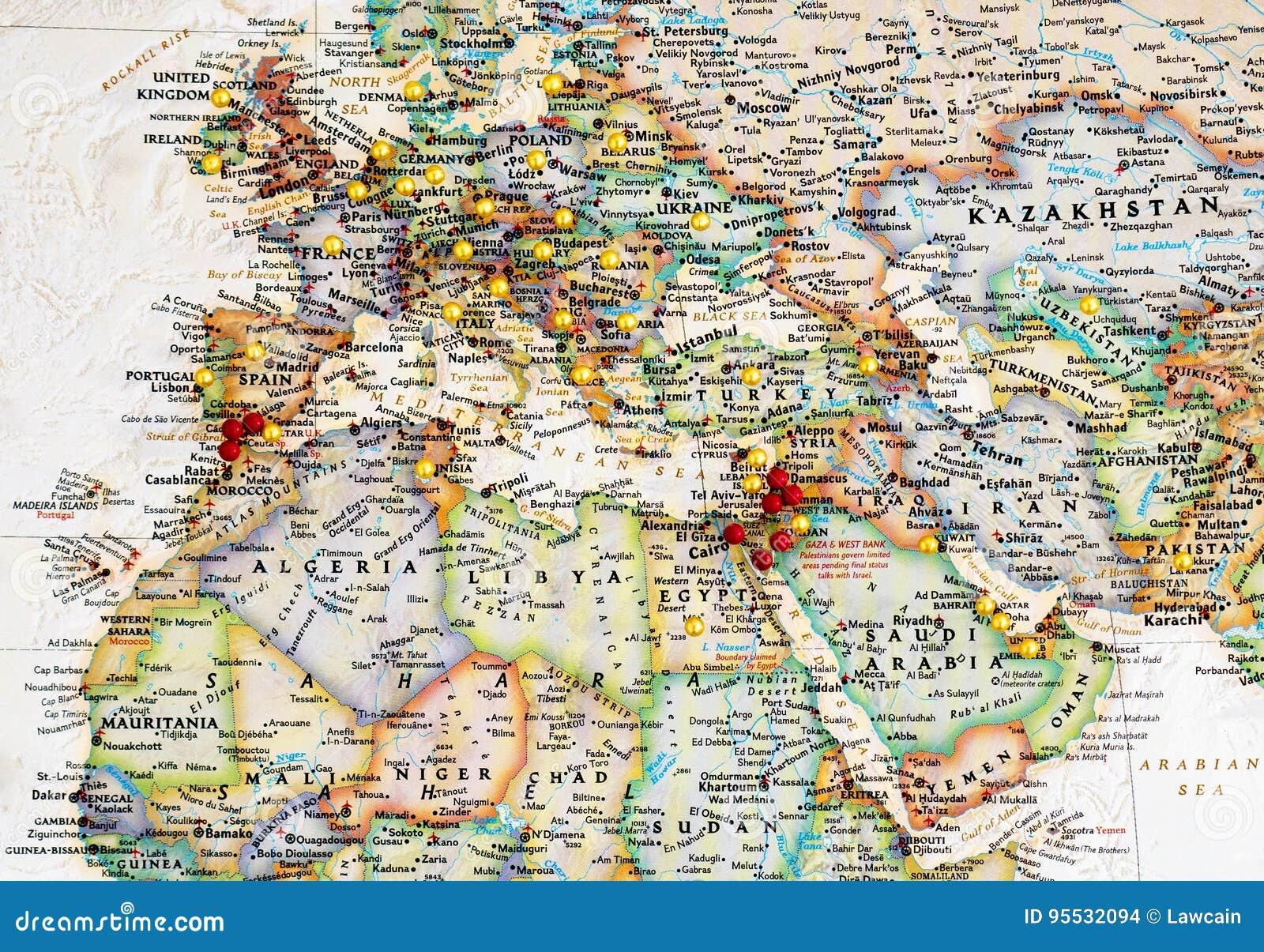 Carte De Leurope Et Moyen Orient.Carte De L Europe Et De Moyen Orient Avec Des Pointes De