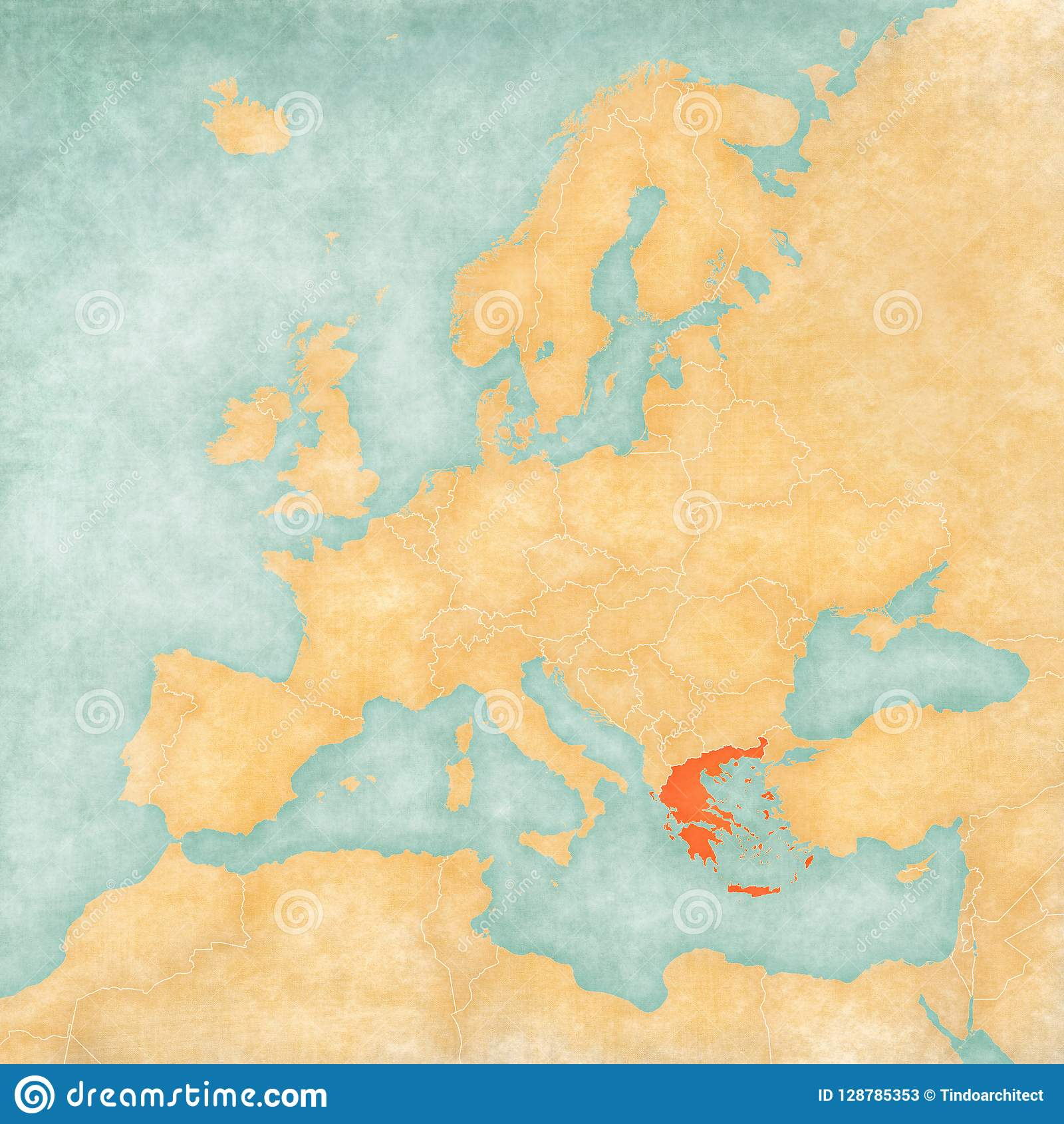 Carte De Leurope Grece.Carte De L Europe La Grece Illustration Stock