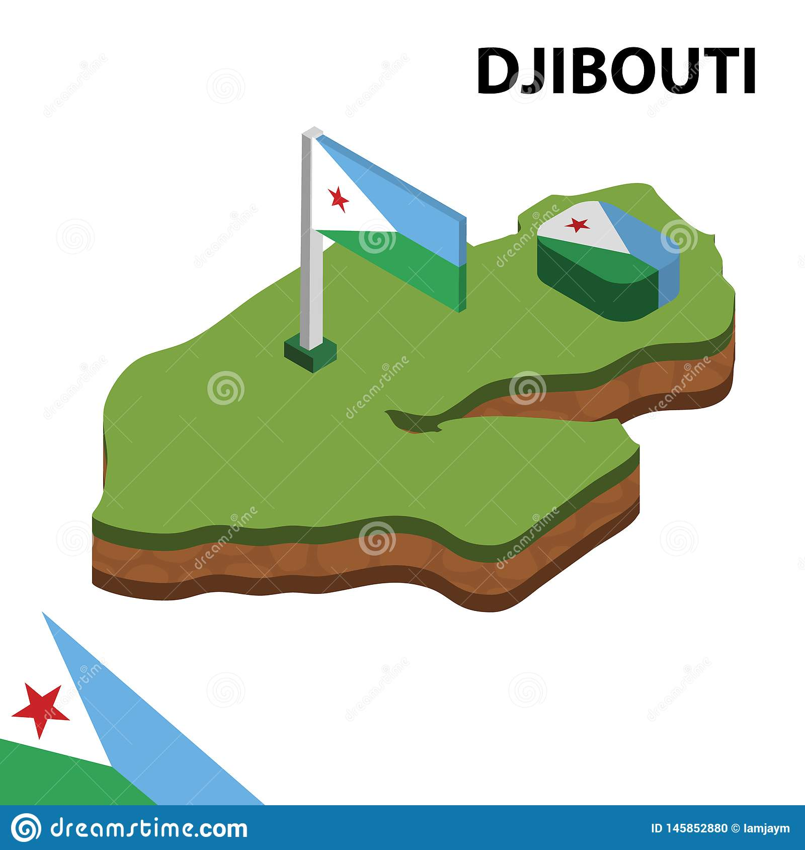 Carte de l information et drapeau isométriques graphiques de DJIBOUTI illustration isom?trique du vecteur 3d