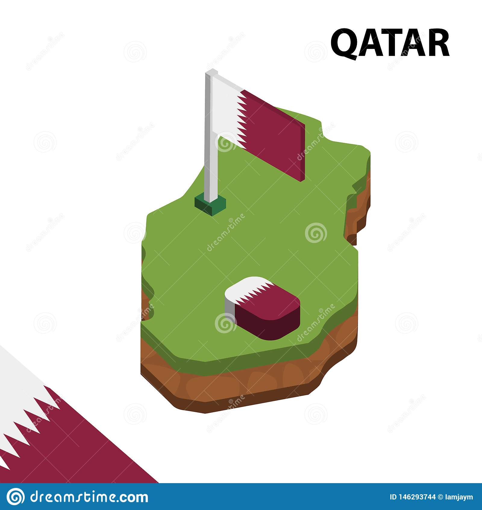 Carte de l information et drapeau isométriques graphiques du QATAR illustration isom?trique du vecteur 3d
