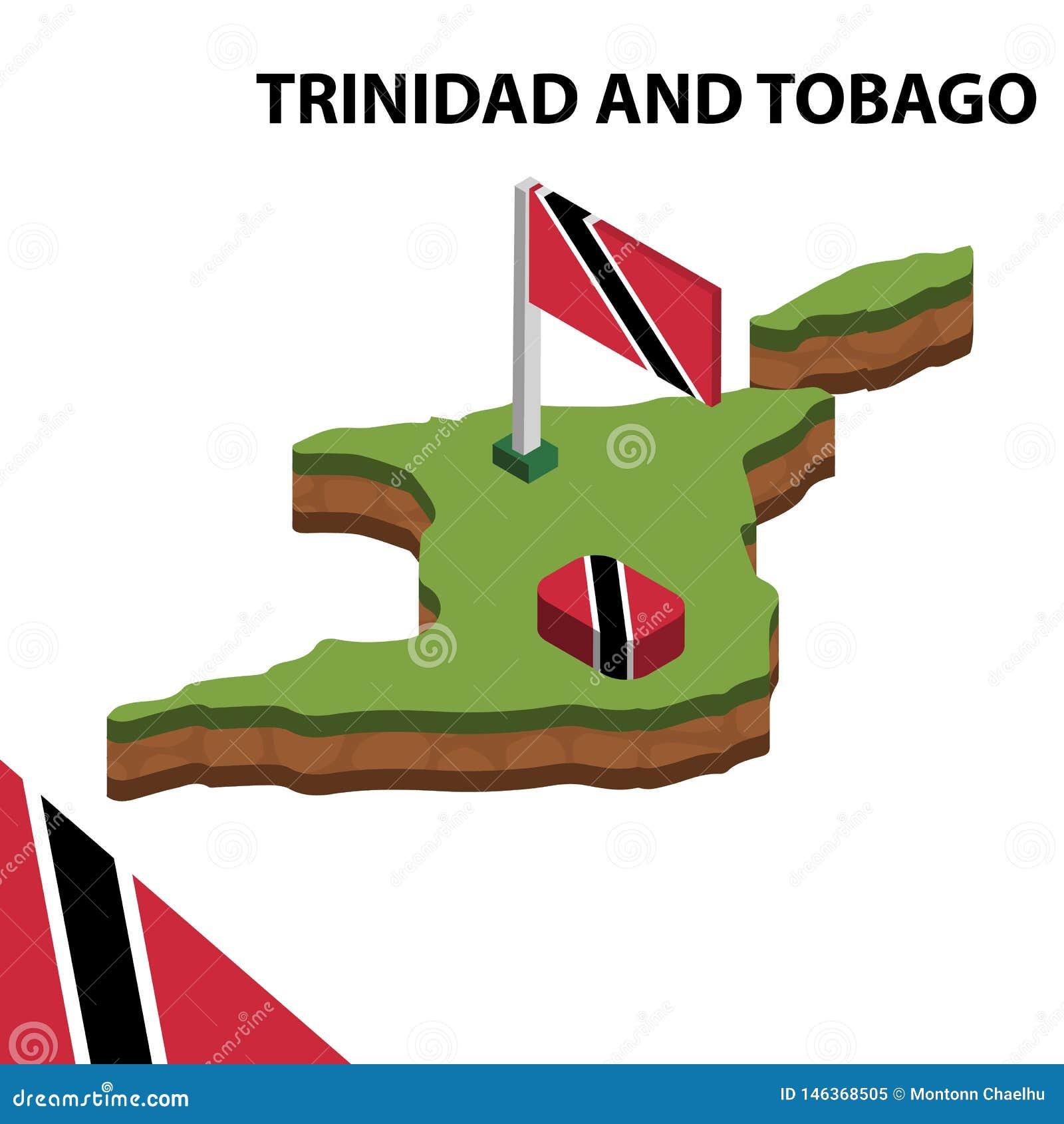 Carte de l information et drapeau isométriques graphiques du TRINIDAD-ET-TOBAGO illustration isom?trique du vecteur 3d