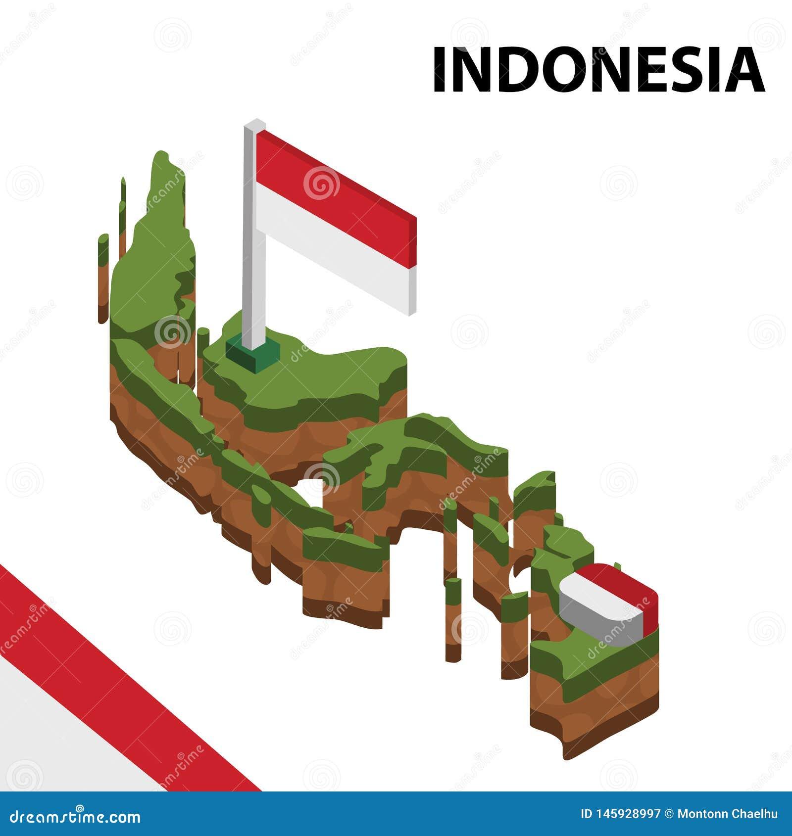 Carte de l information et drapeau isométriques graphiques de l INDONÉSIE illustration isom?trique du vecteur 3d