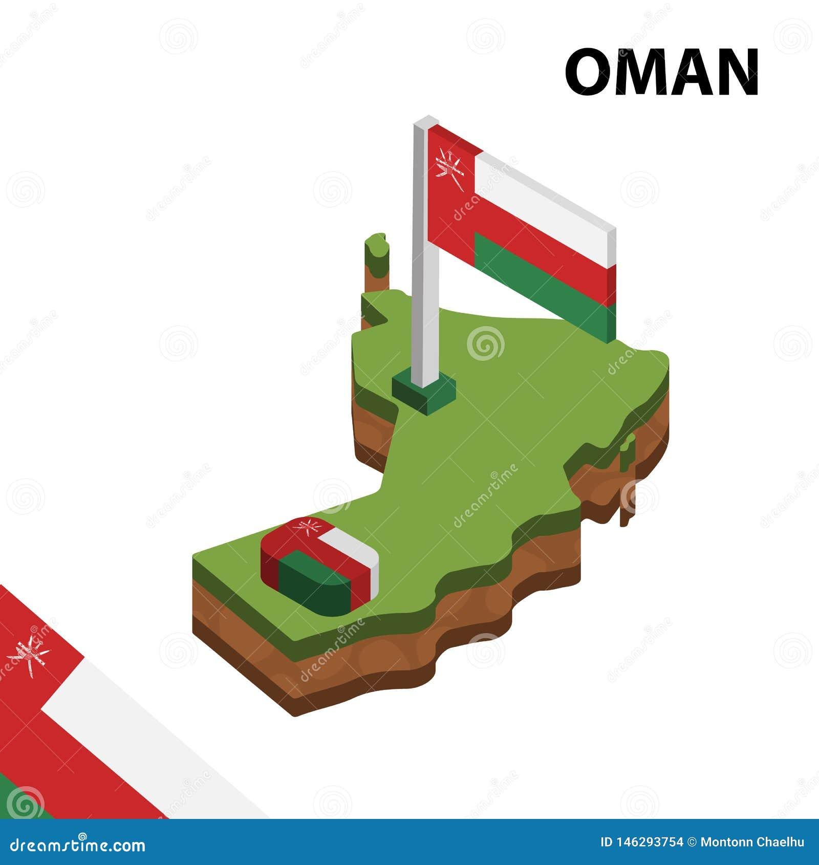 Carte de l information et drapeau isométriques graphiques de l OMAN illustration isom?trique du vecteur 3d