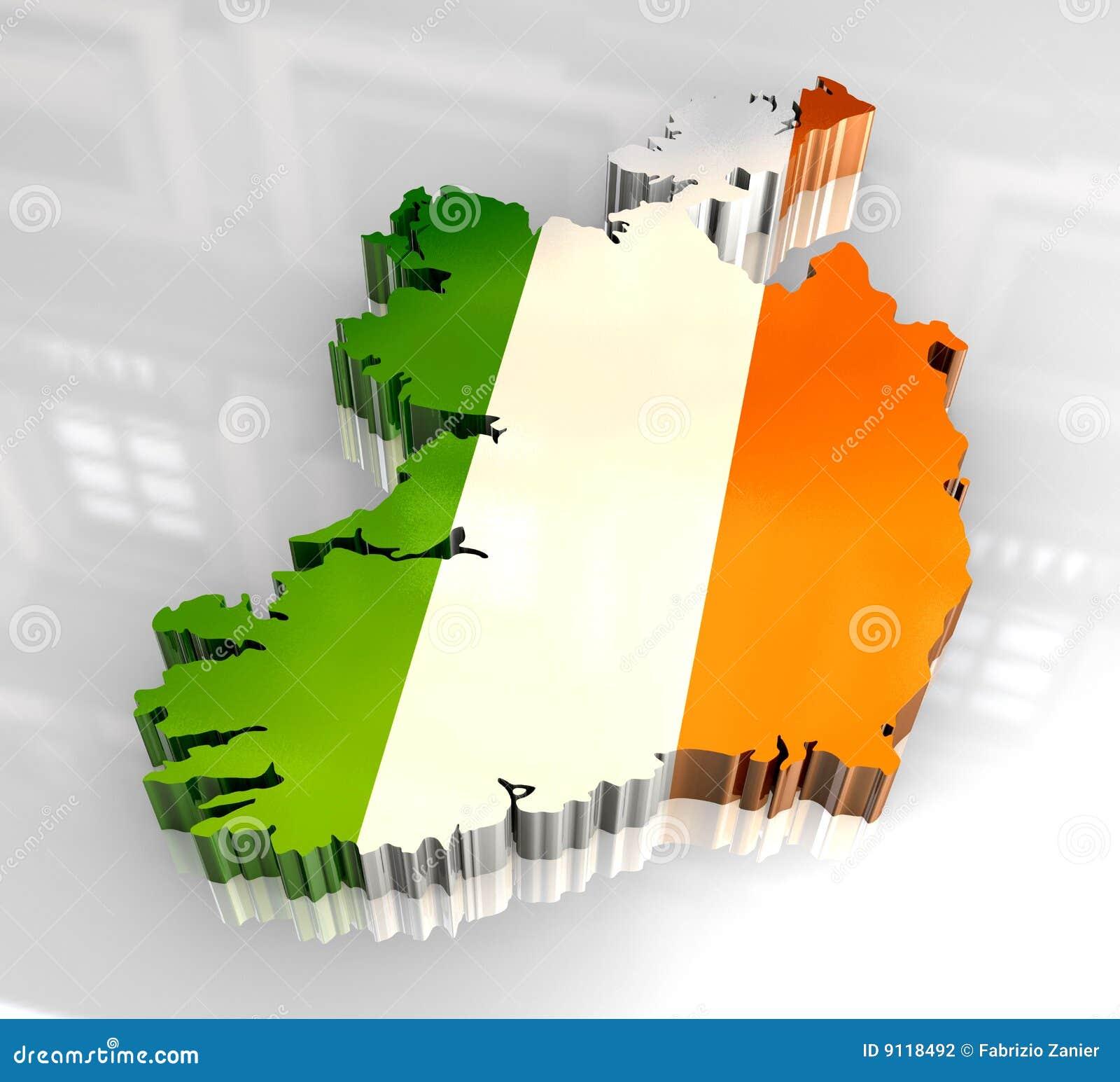 carte de l 39 irlande de l 39 indicateur 3d photographie stock image 9118492. Black Bedroom Furniture Sets. Home Design Ideas