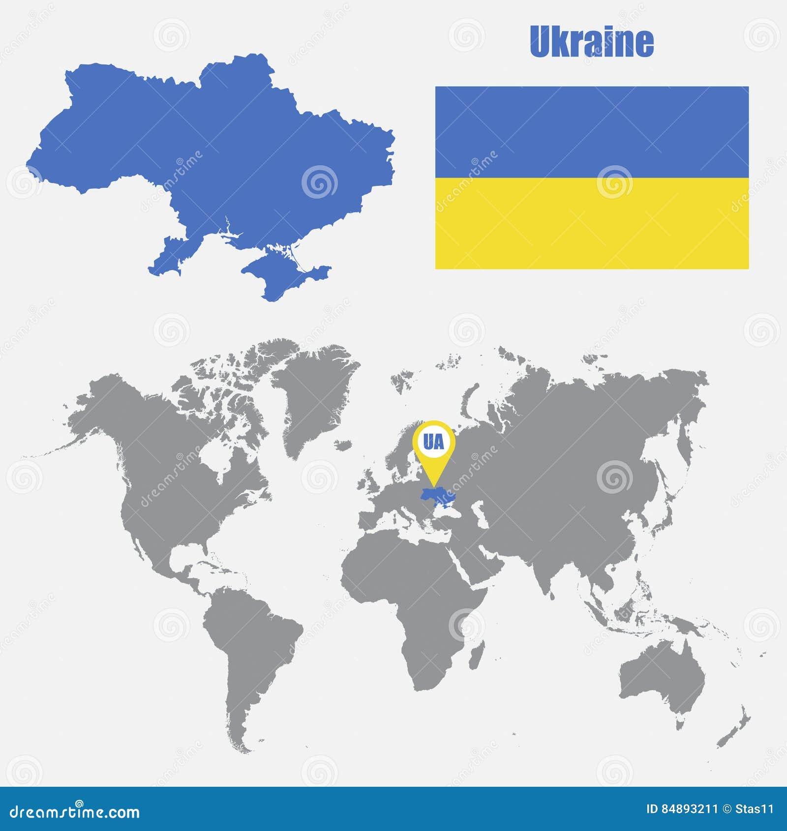 Ukraine Carte Du Monde.Carte De L Ukraine Sur Une Carte Du Monde Avec L Indicateur