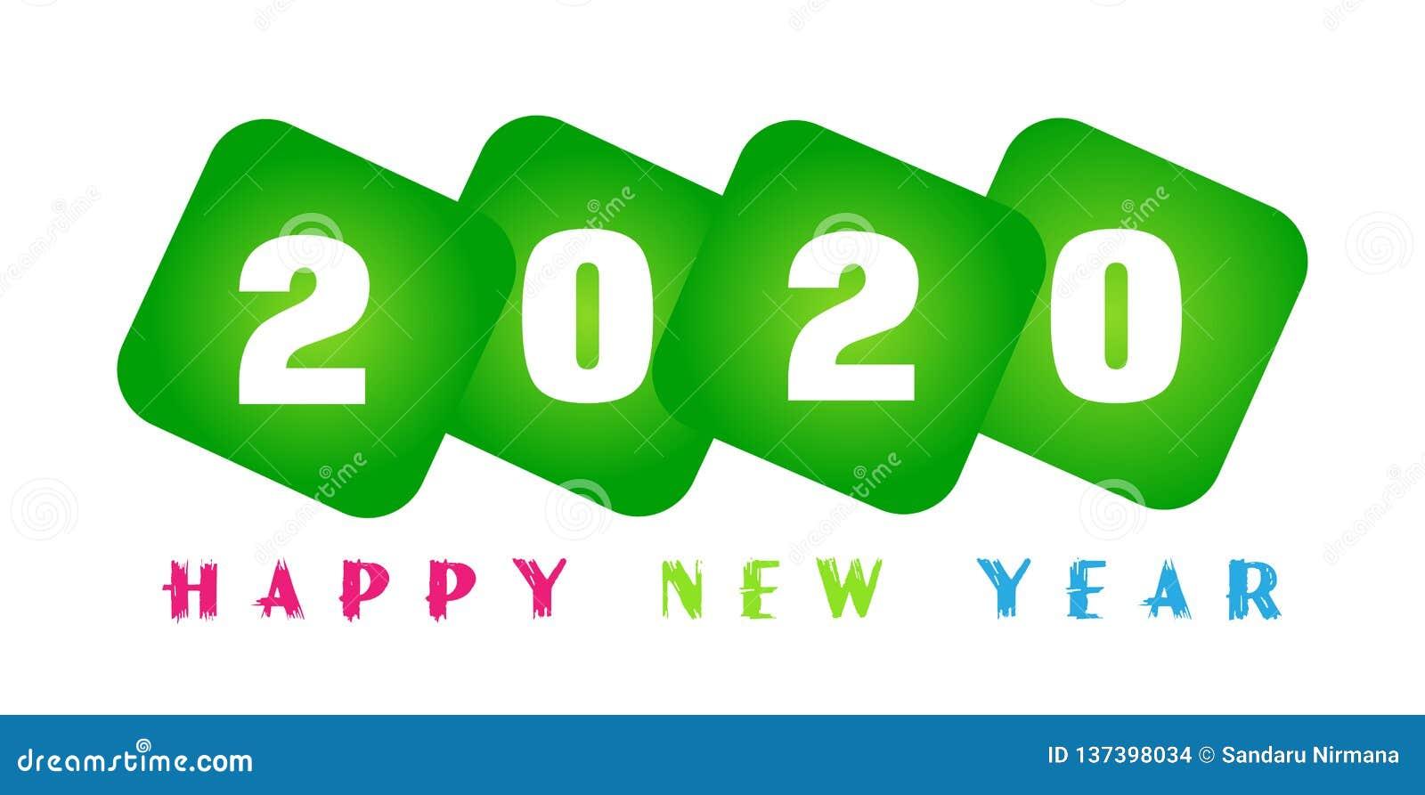Carte de la bonne année 2020 et texte de salutation coloré dans la conception en vert colorés sur le fond blanc