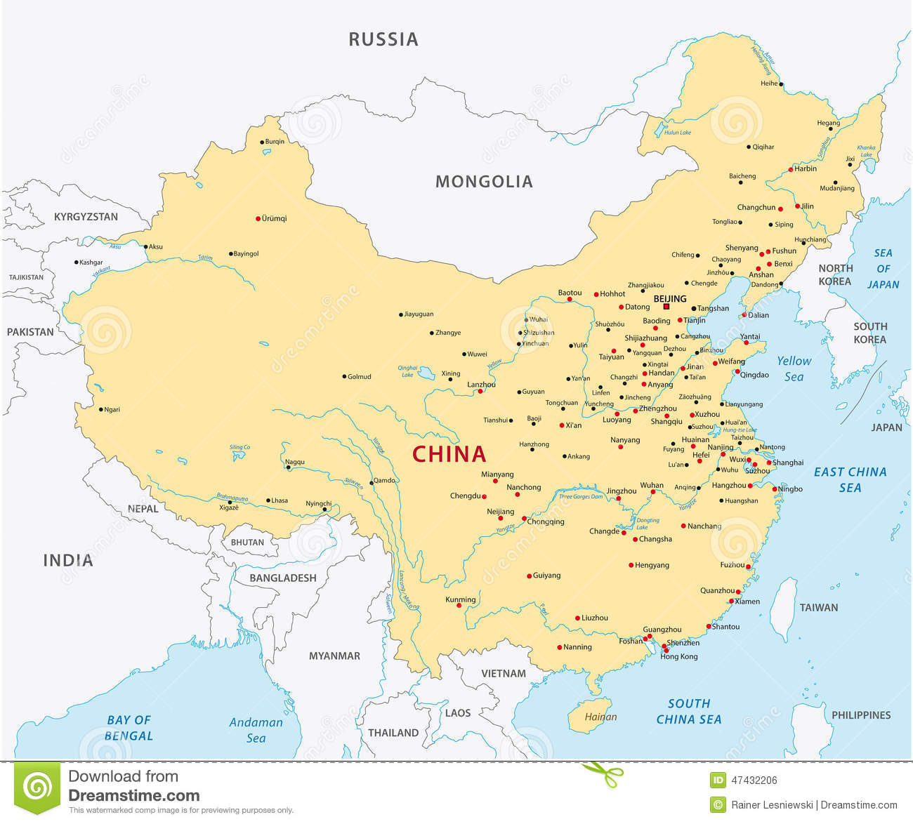 Carte De Chine Détaillée carte de la chine illustration de vecteur. illustration du capital