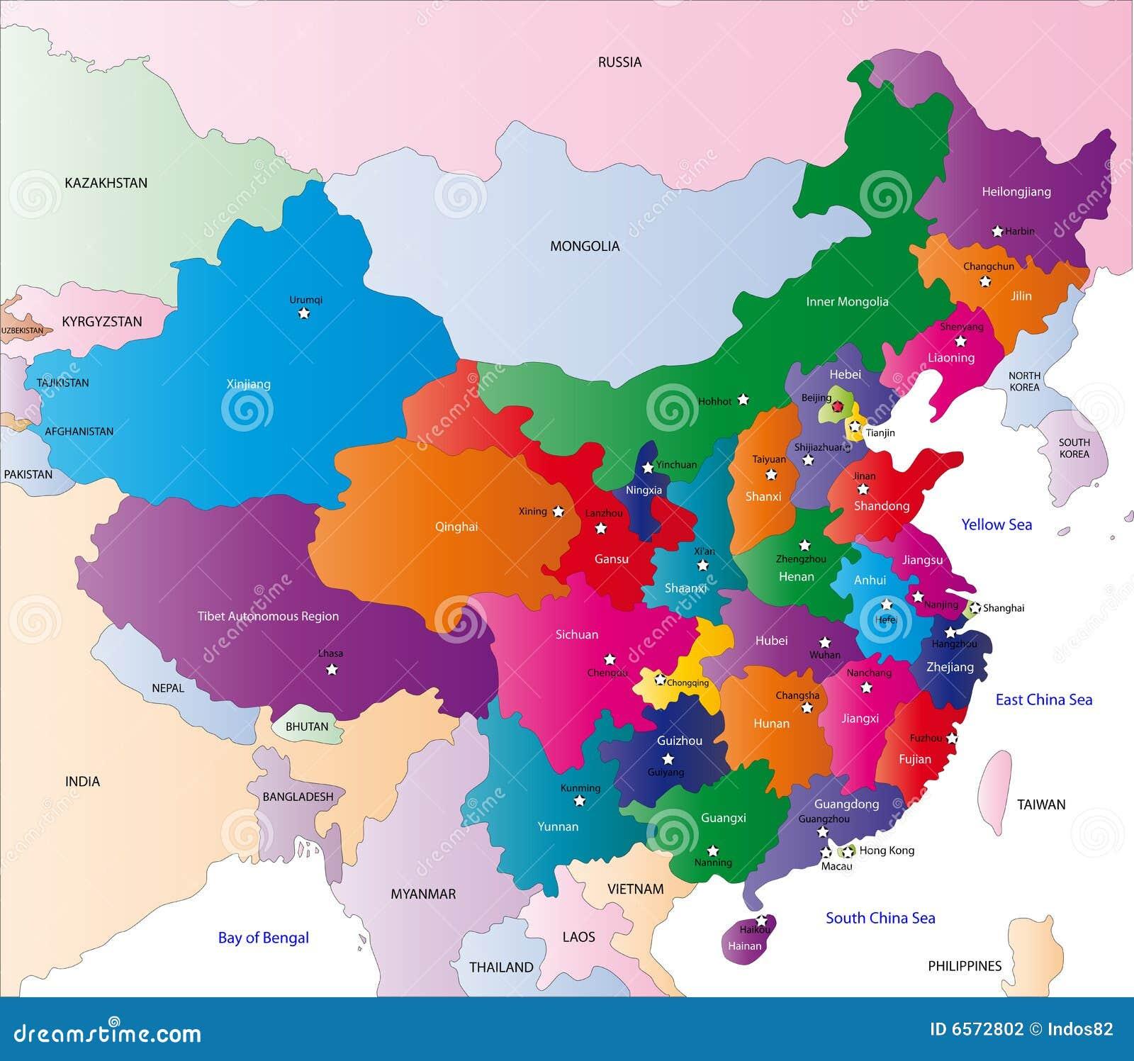 Bien-aimé Carte De La Chine Photographie stock - Image: 6572802 RR76