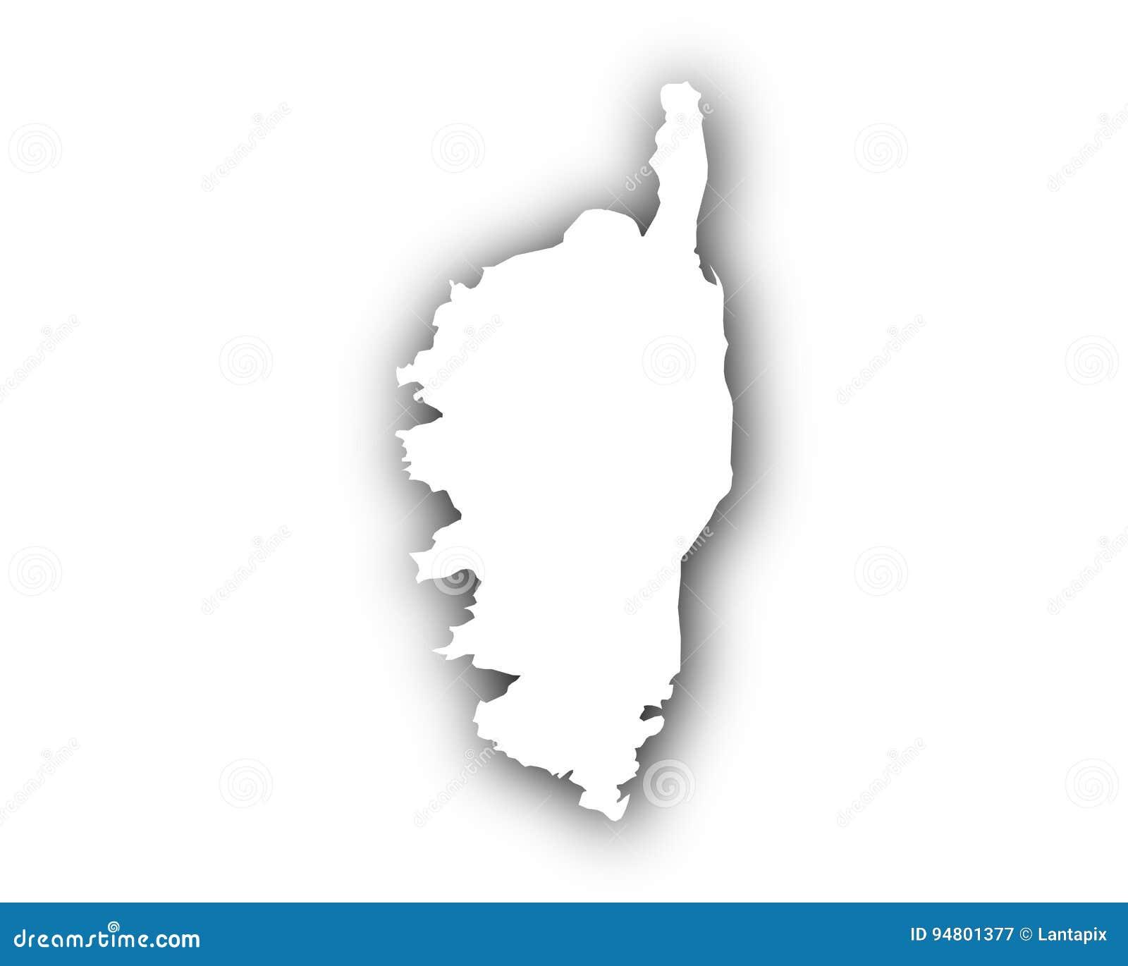 Carte Corse Noir Et Blanc.Carte De La Corse Avec L Ombre Illustration De Vecteur
