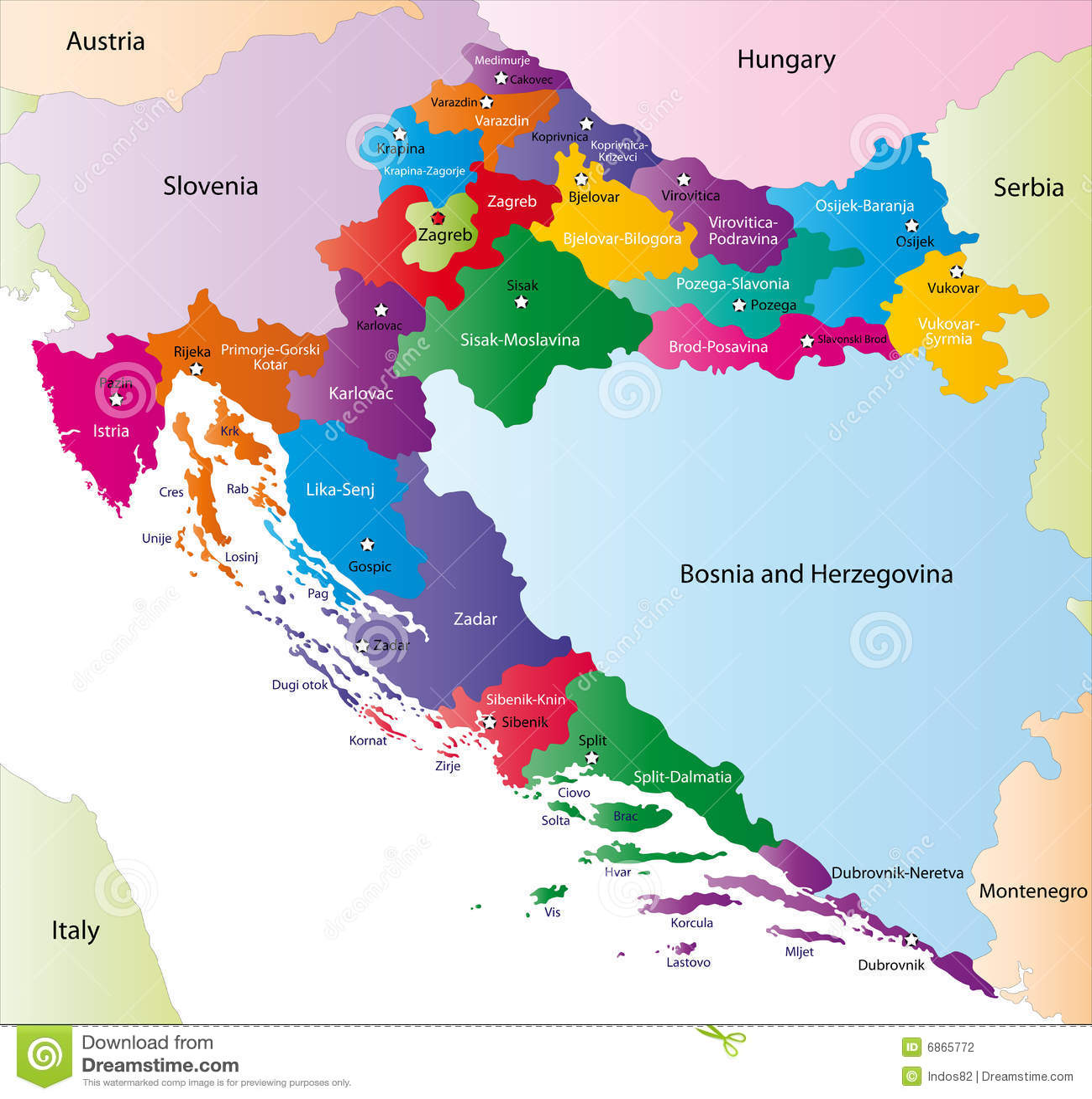 Carte Administrative Croatie.Carte De La Croatie Illustration De Vecteur Illustration Du