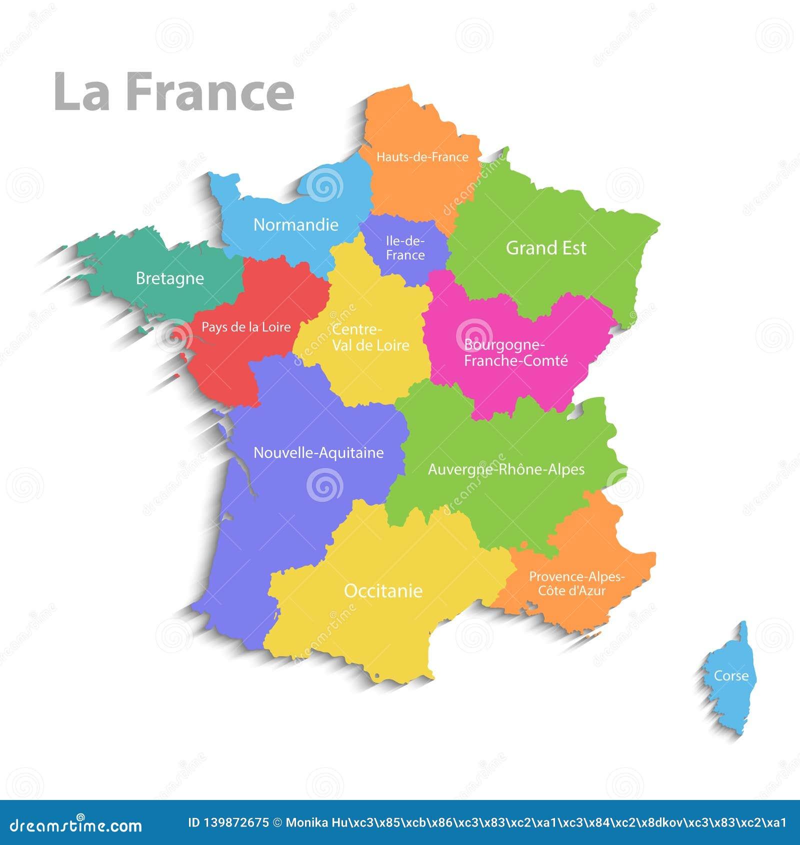 Carte De La France Nouvelle Carte Detaillee Politique Differentes Regions Distinctes Avec Des Noms D Etat D Isolement Sur Le Illustration De Vecteur Illustration Du Differentes Isolement 139872675
