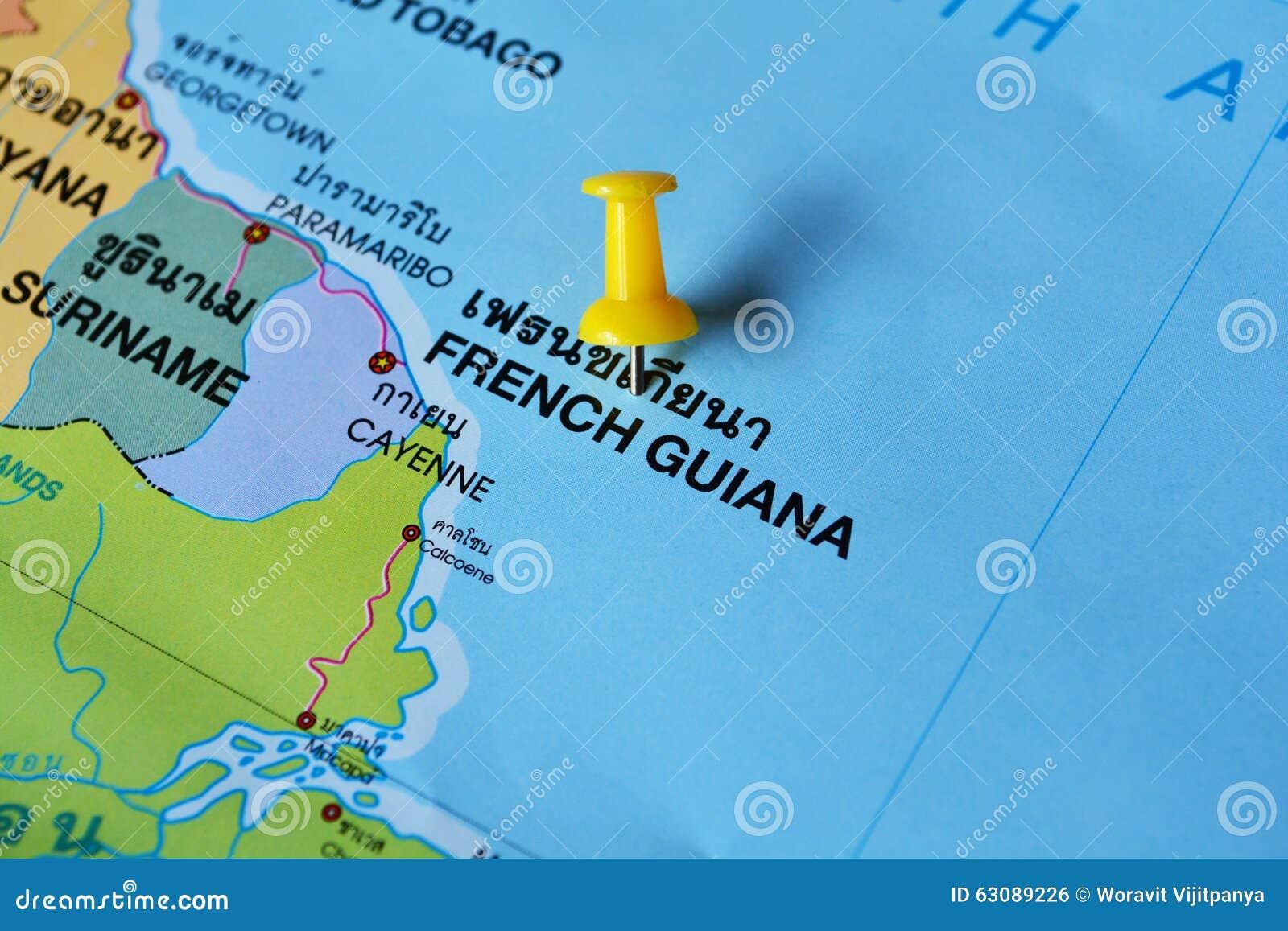 Download Carte De La Guyane Française Française Photo stock - Image du ville, français: 63089226
