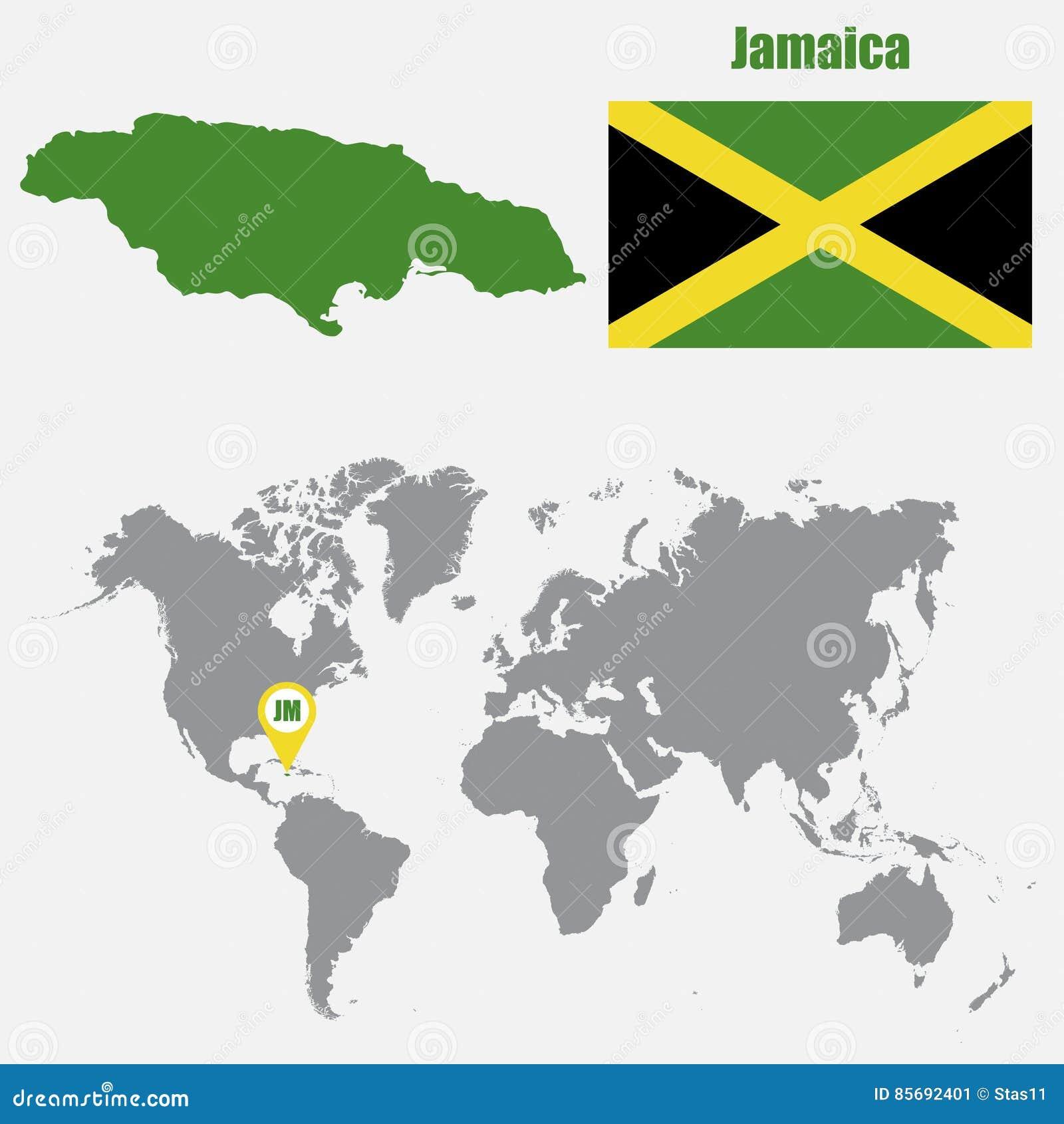 jamaique carte du monde Carte De La Jamaïque Sur Une Carte Du Monde Avec L'indicateur De