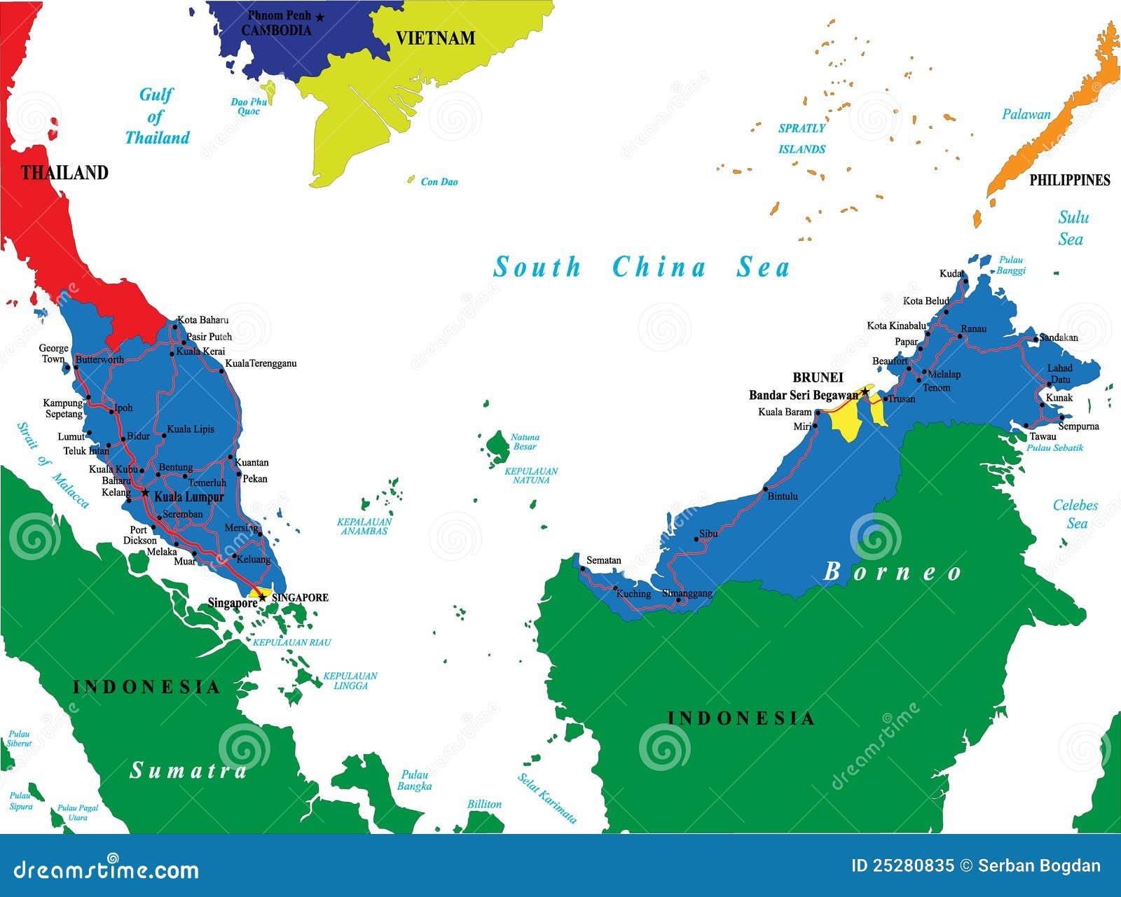 Carte Asie Malaisie.Carte De La Malaisie Illustration De Vecteur Illustration