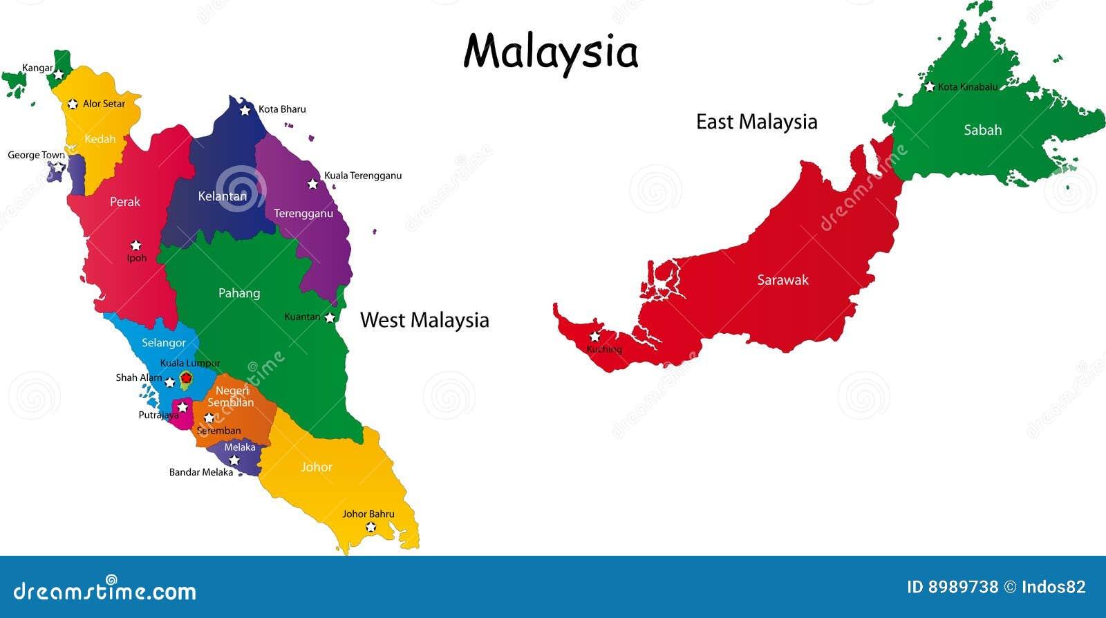 Carte De La Malaisie Photos libres de droits - Image: 8989738