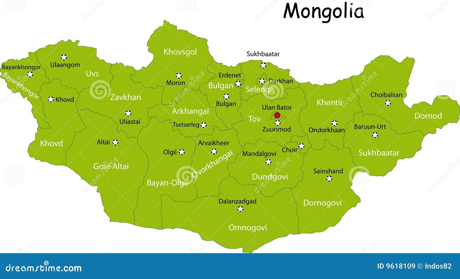 Carte de la Mongolie illustration de vecteur. Illustration du asie - 9618109