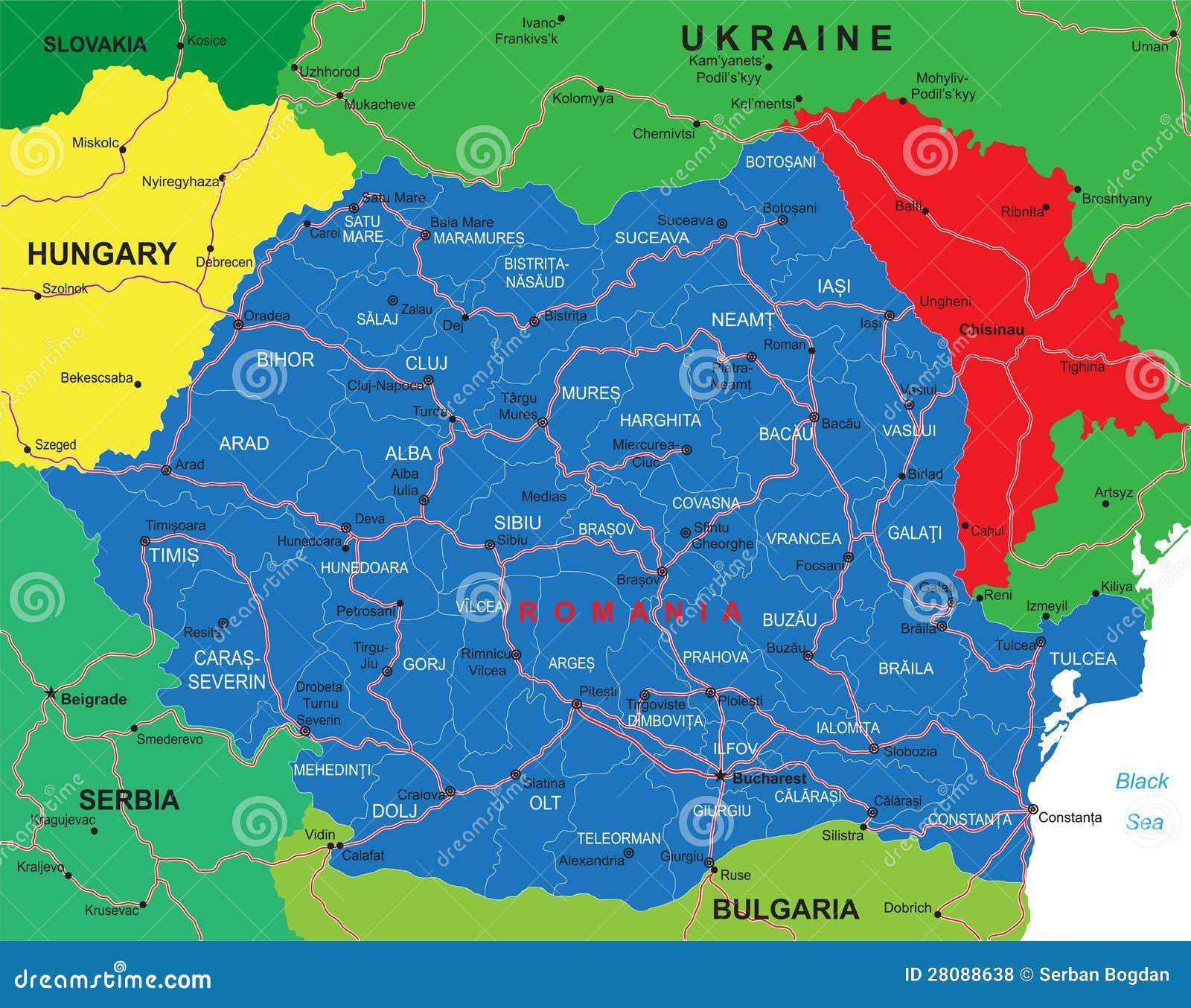 Carte de la Roumanie illustration de vecteur. Illustration ...
