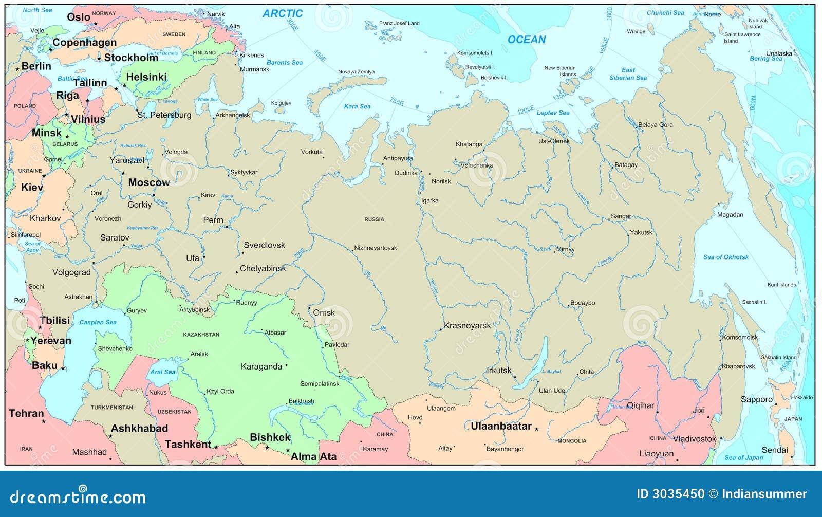 Carte De La Russie Photo stock - Image: 3035450