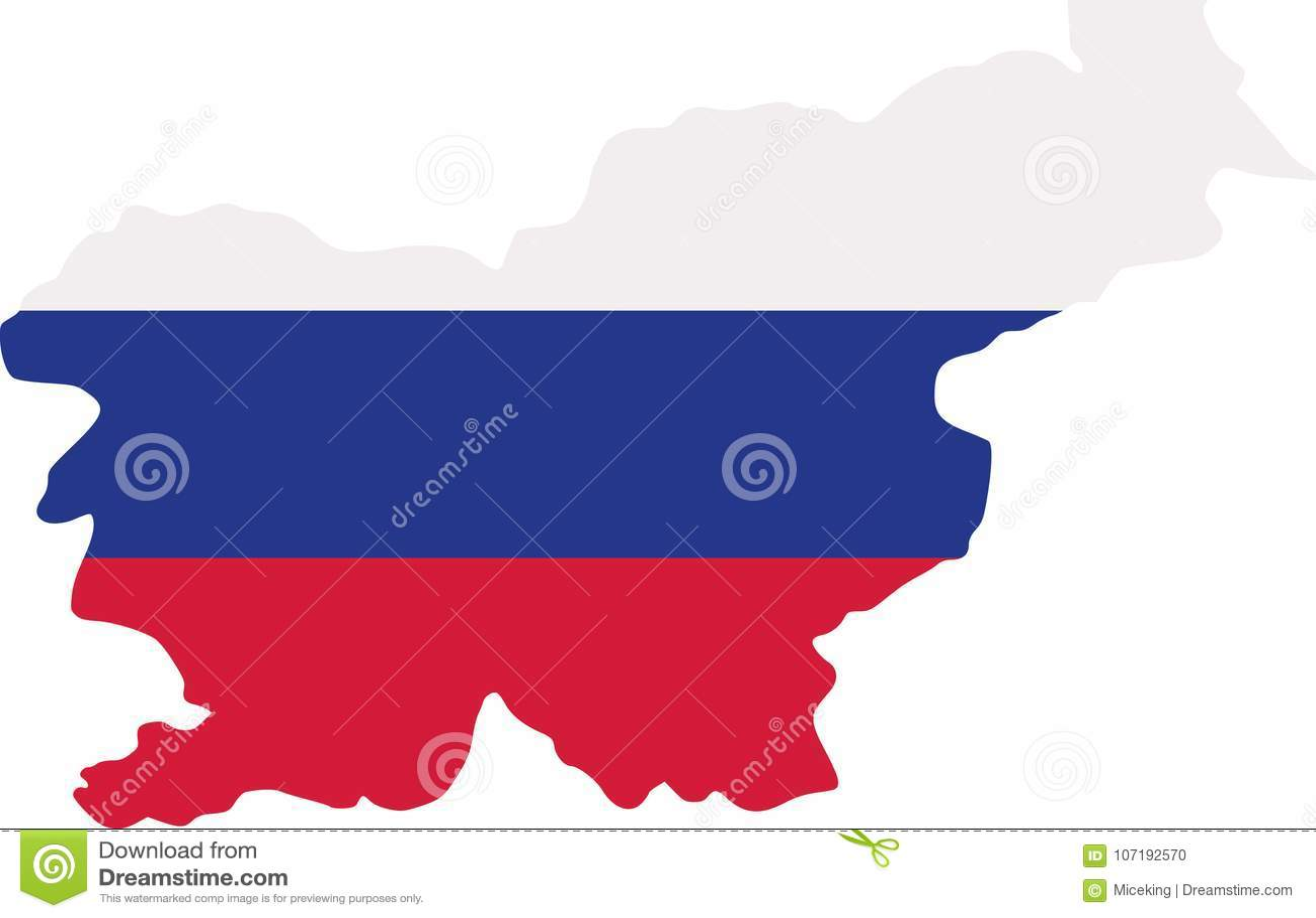 Carte de la Slovénie avec le drapeau