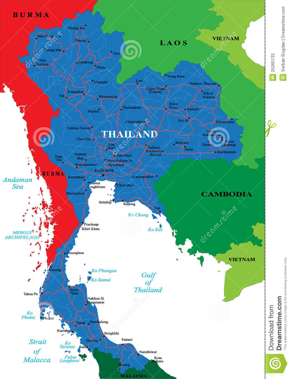 Carte Thailande Detaillee.Carte De La Thailande Illustration De Vecteur Illustration