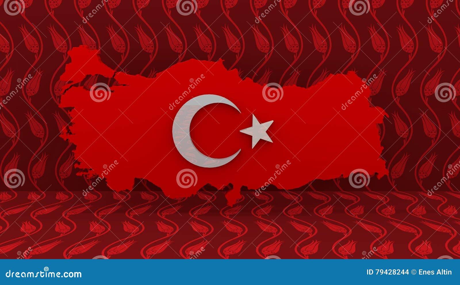 Carte de la Turquie Signe turc de drapeau Signe de carte de pays de la Turquie