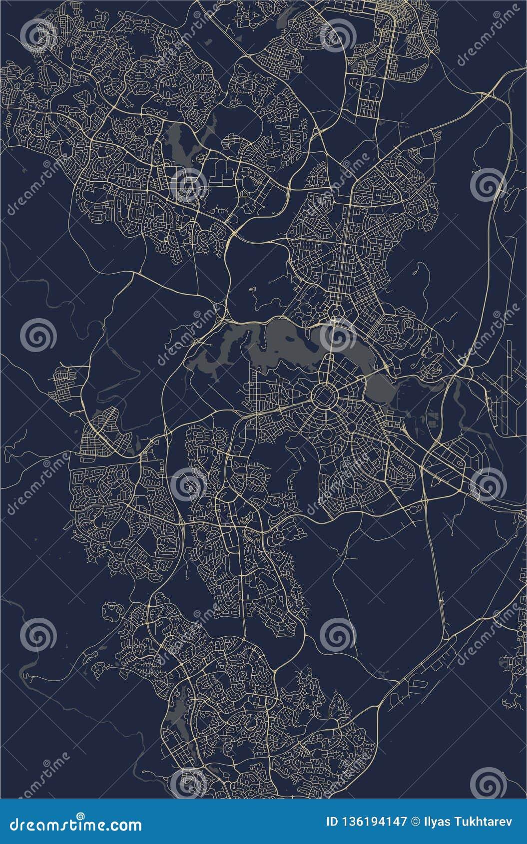 Carte de la ville de Canberra, territoire capitale australien, Australie