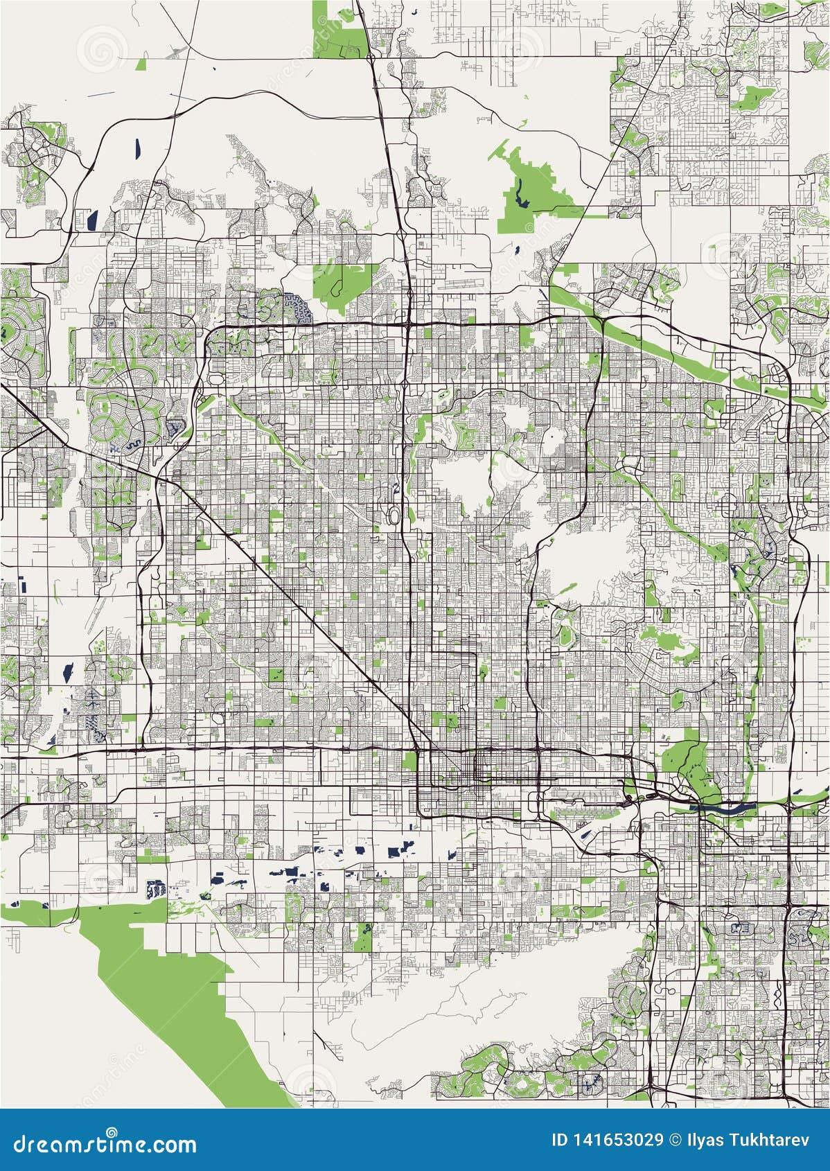 Carte de la ville de Phoenix, Arizona, Etats-Unis