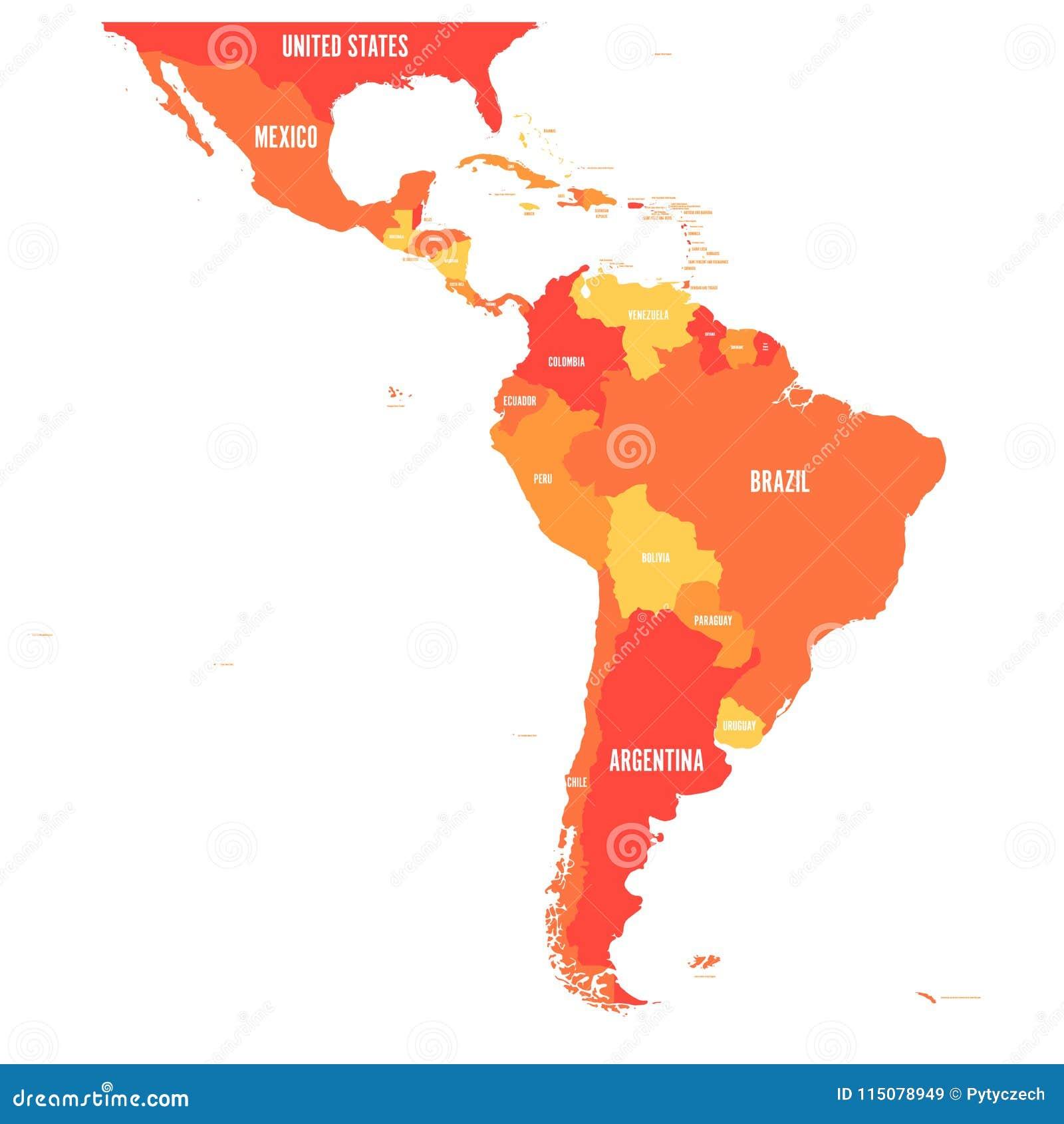 Carte de latin de l Amérique E