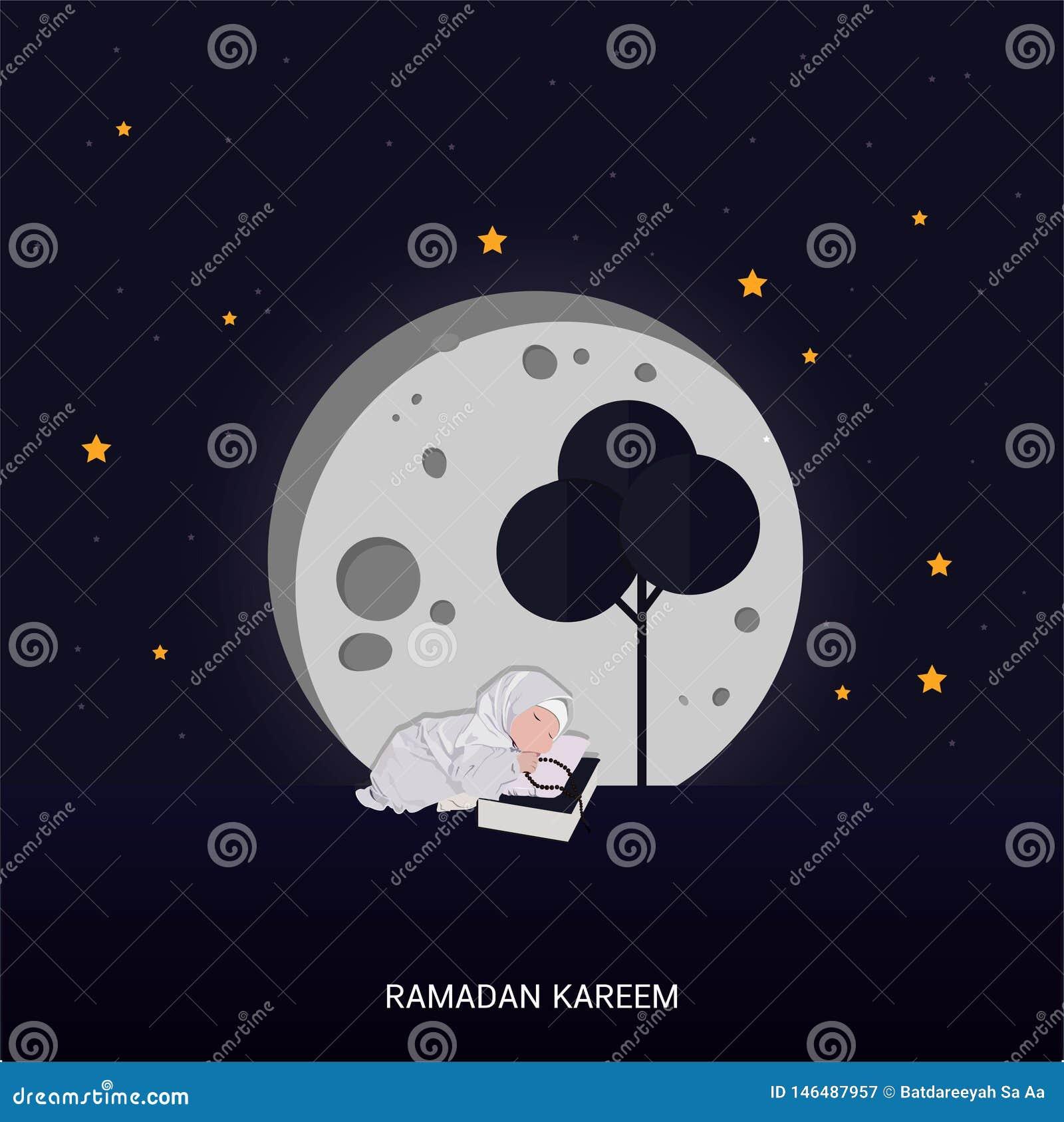 Carte de lettrage de salutation de Ramadan Kareem avec la lune et l ?toile