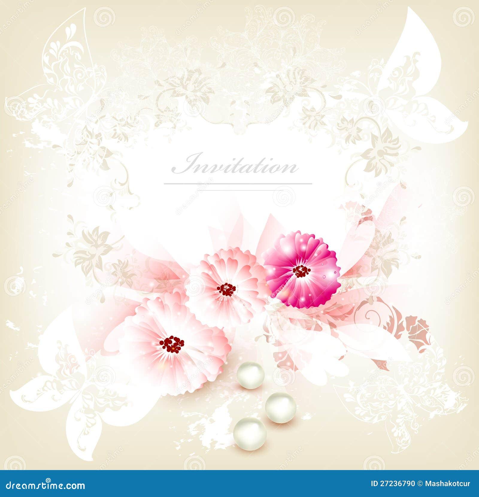 carte de mariage mignonne d 39 invitation avec des fleurs. Black Bedroom Furniture Sets. Home Design Ideas