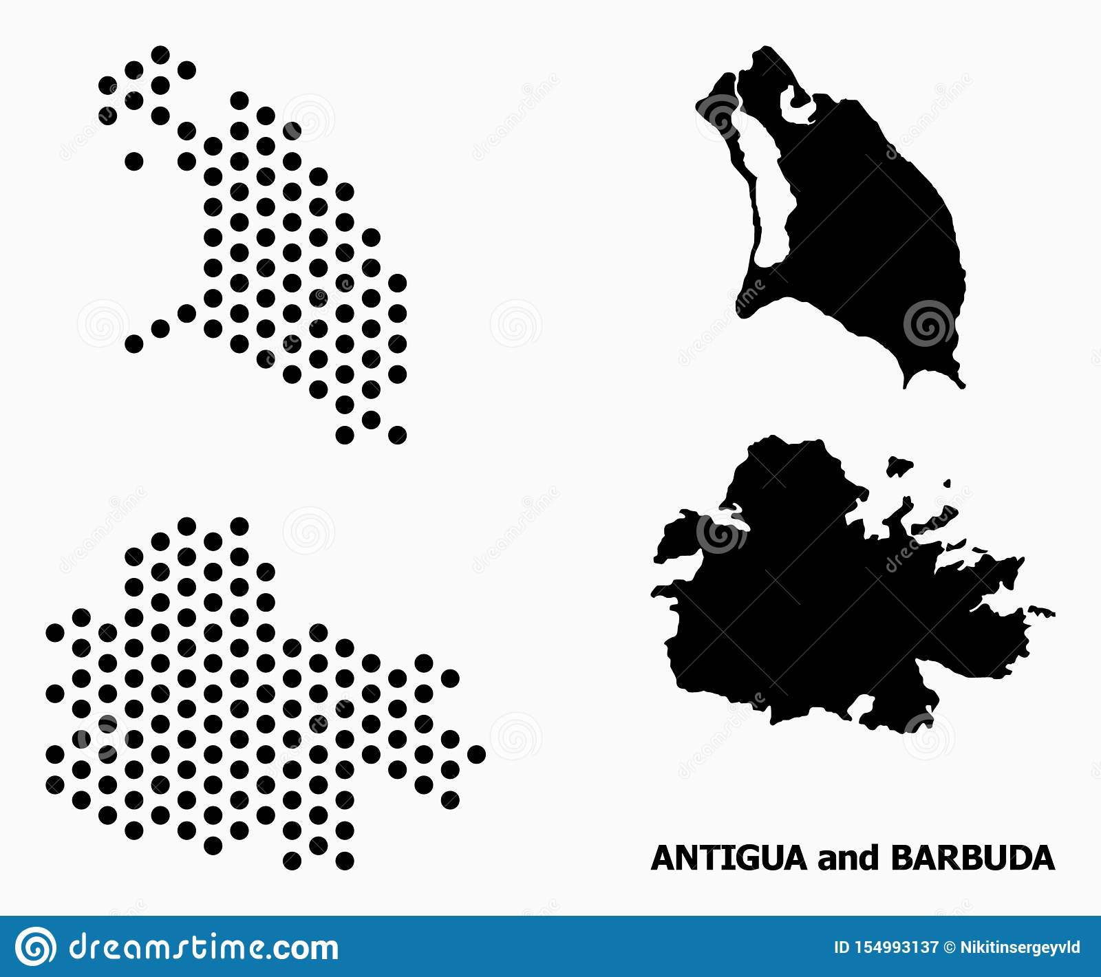 Carte de modèle de Pixelated de l Antigua-et-Barbuda