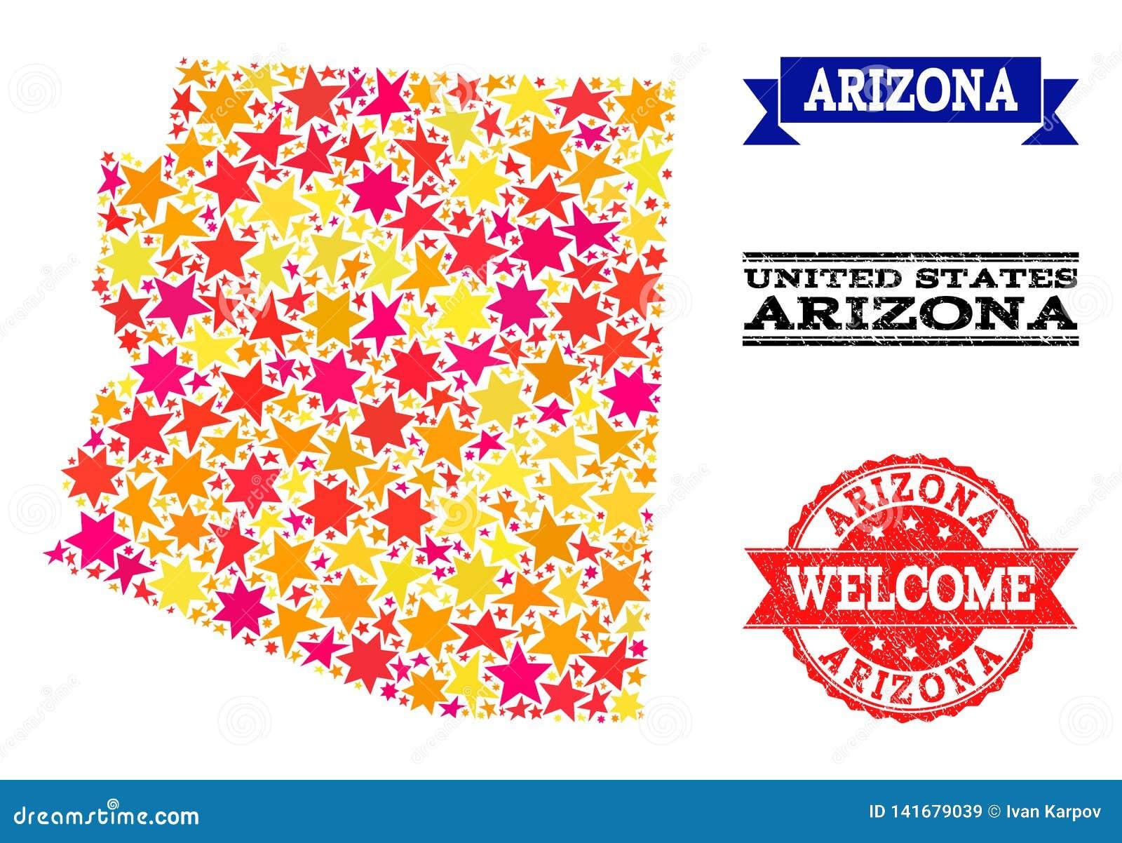 Carte de mosaïque d étoile d état et de tampons en caoutchouc de l Arizona