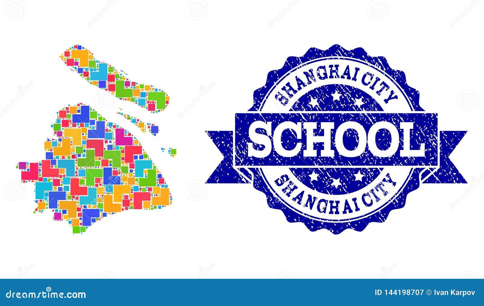 Carte de mosaïque de municipalité de Changhaï et de collage rayé de joint d école