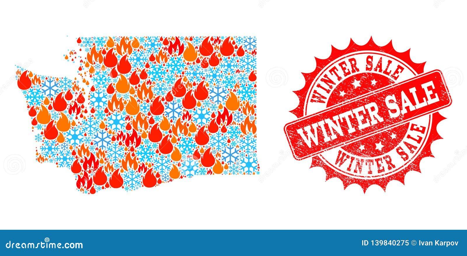 Carte de mosaïque de Washington State de flamme et de neige et de timbre grunge de vente d hiver