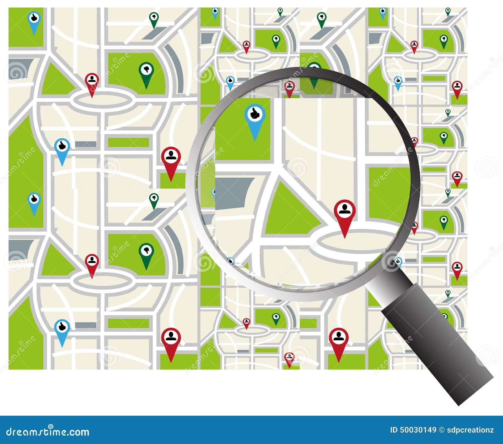 carte de navigation de ville avec la loupe illustration de vecteur illustration du. Black Bedroom Furniture Sets. Home Design Ideas