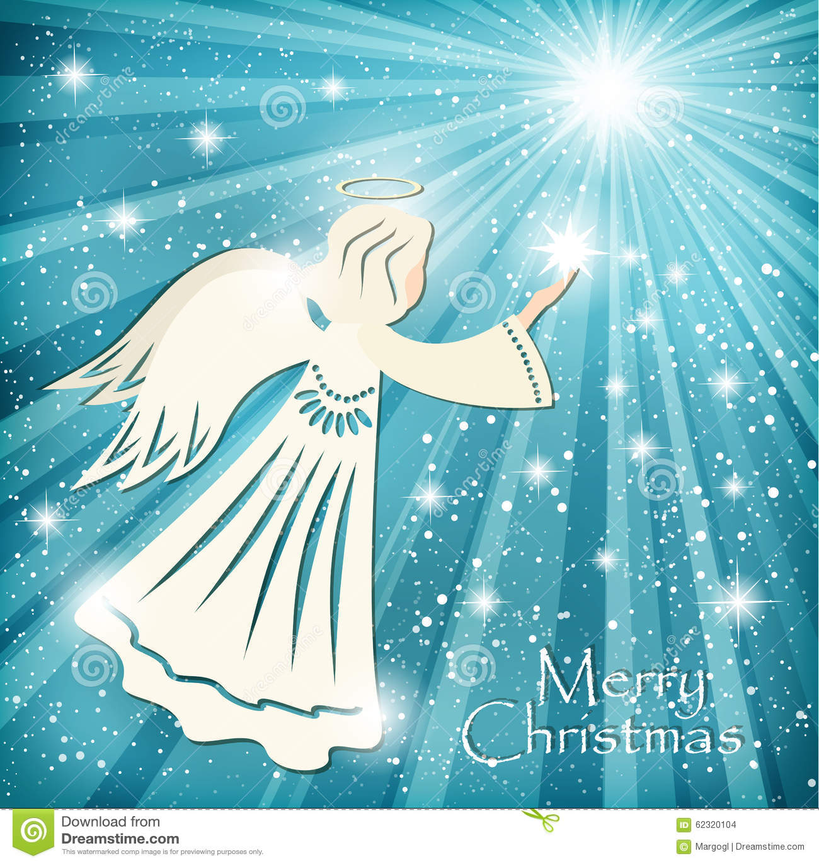Carte De Noël Ange Et Les étoiles De Scintillement Dans Le Ciel