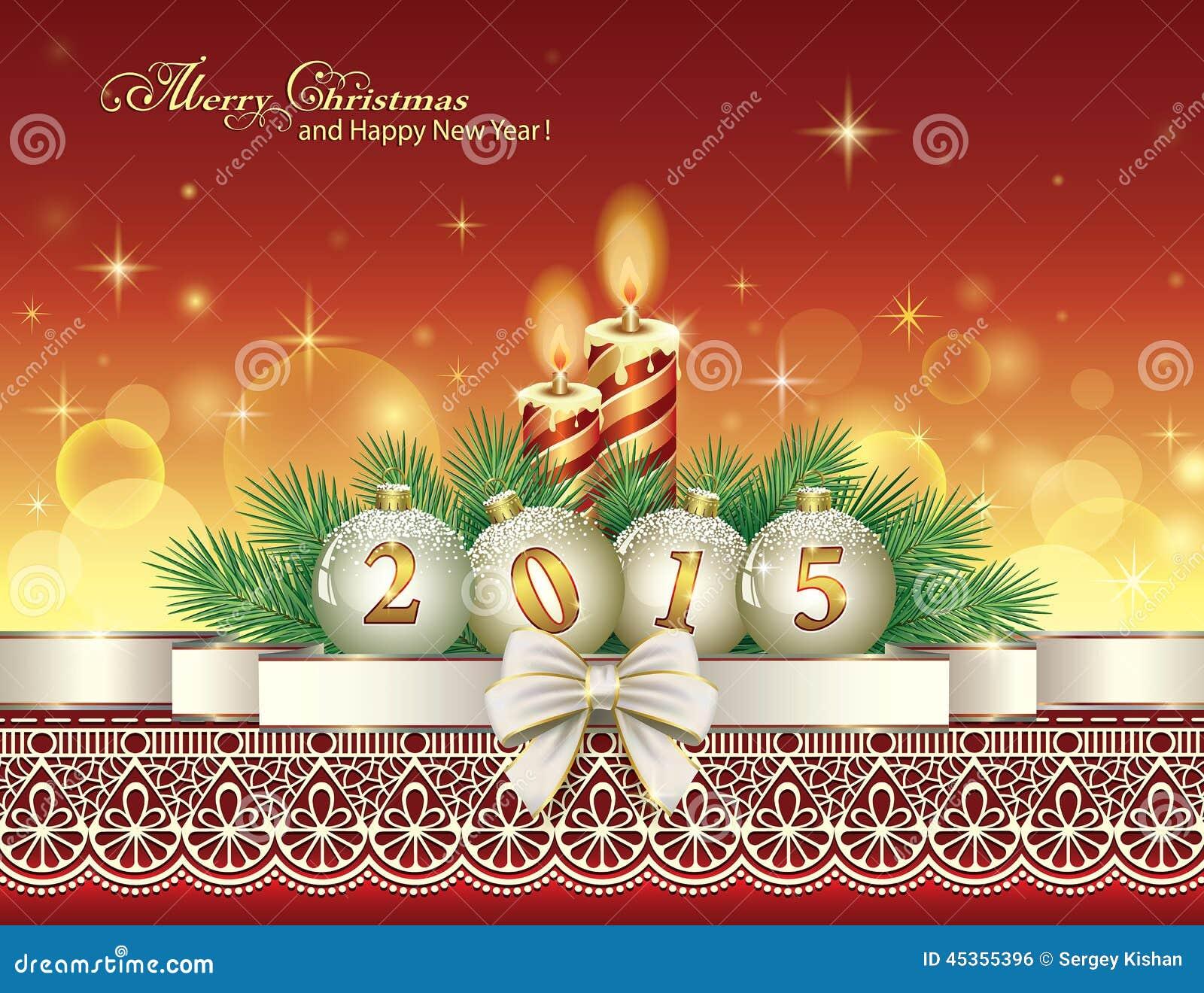 Carte de Noël avec 2015 avec des boules et des bougies