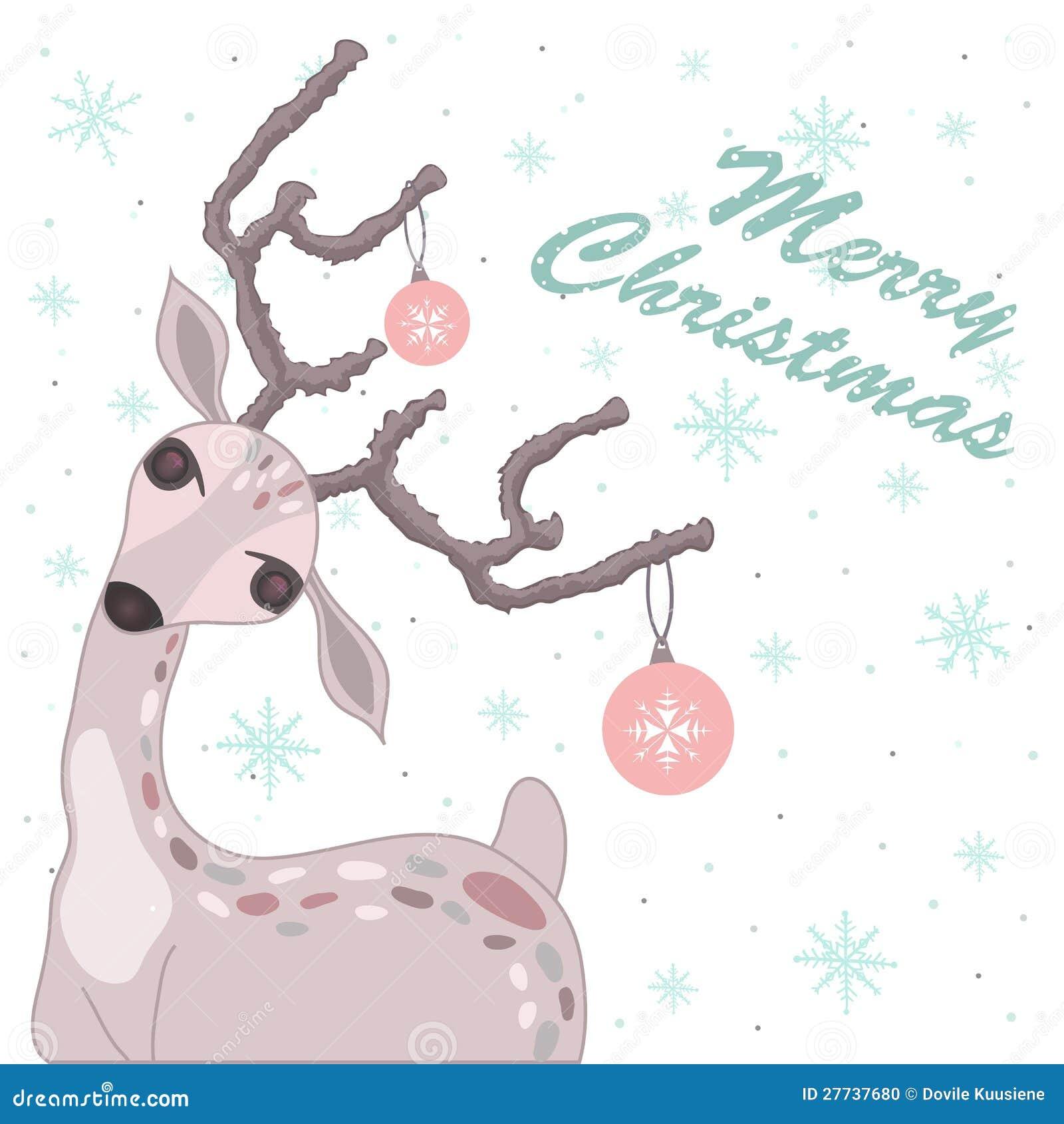 Carte de Noël avec des cerfs communs