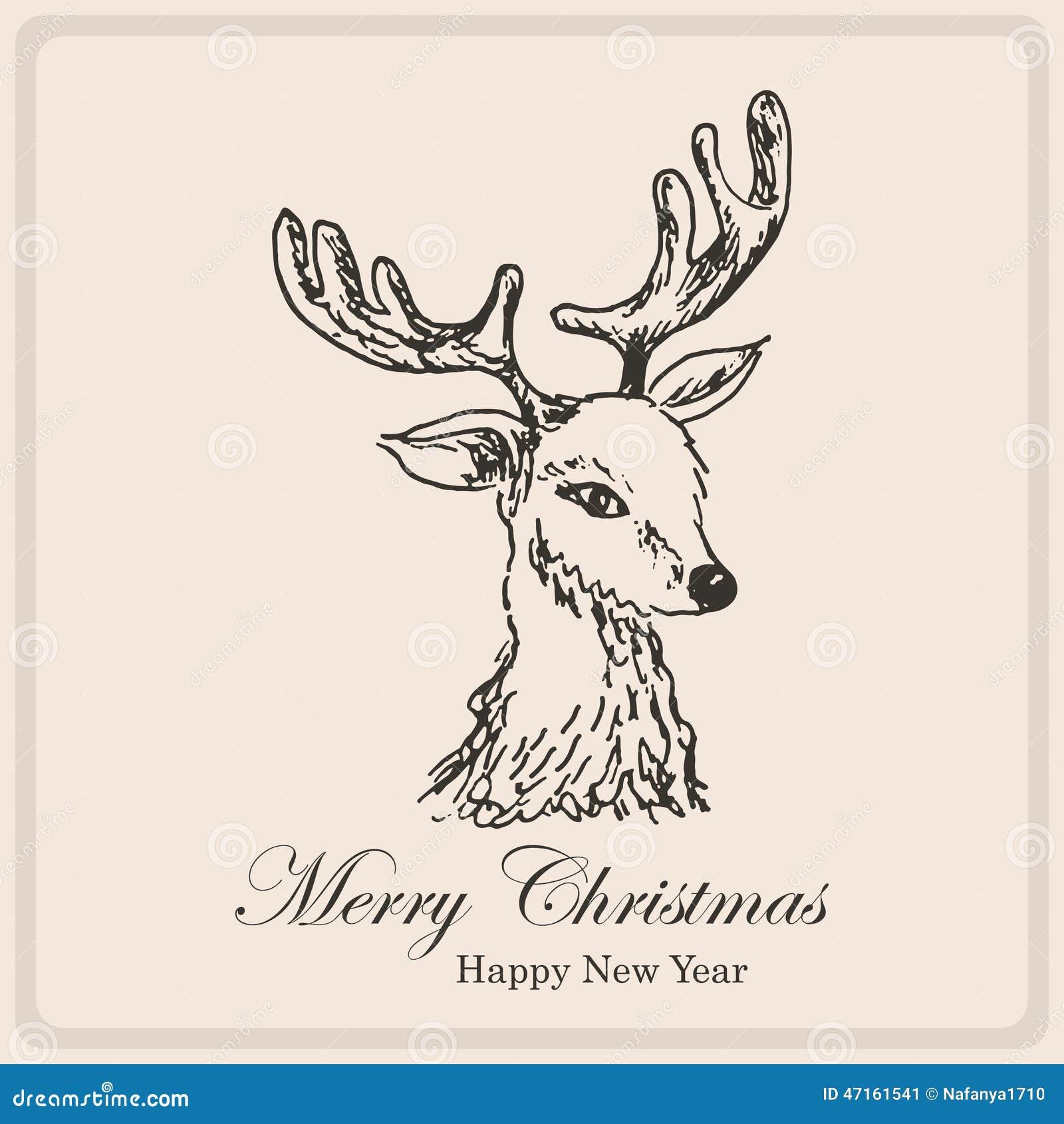 Carte De Noël Avec Des Cerfs Communs De Croquis Illustration De