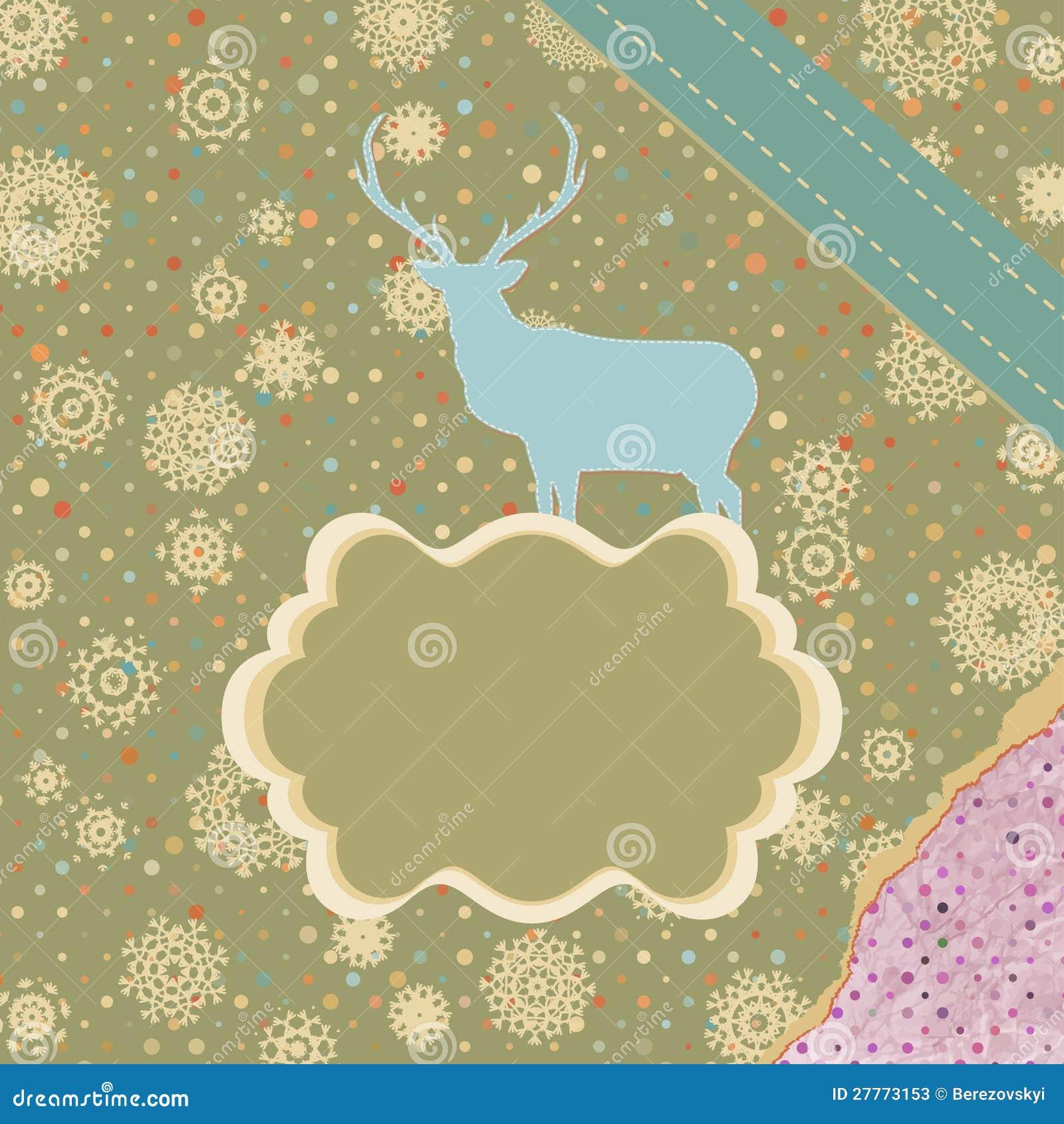 Carte de Noël avec des cerfs communs. ENV 8